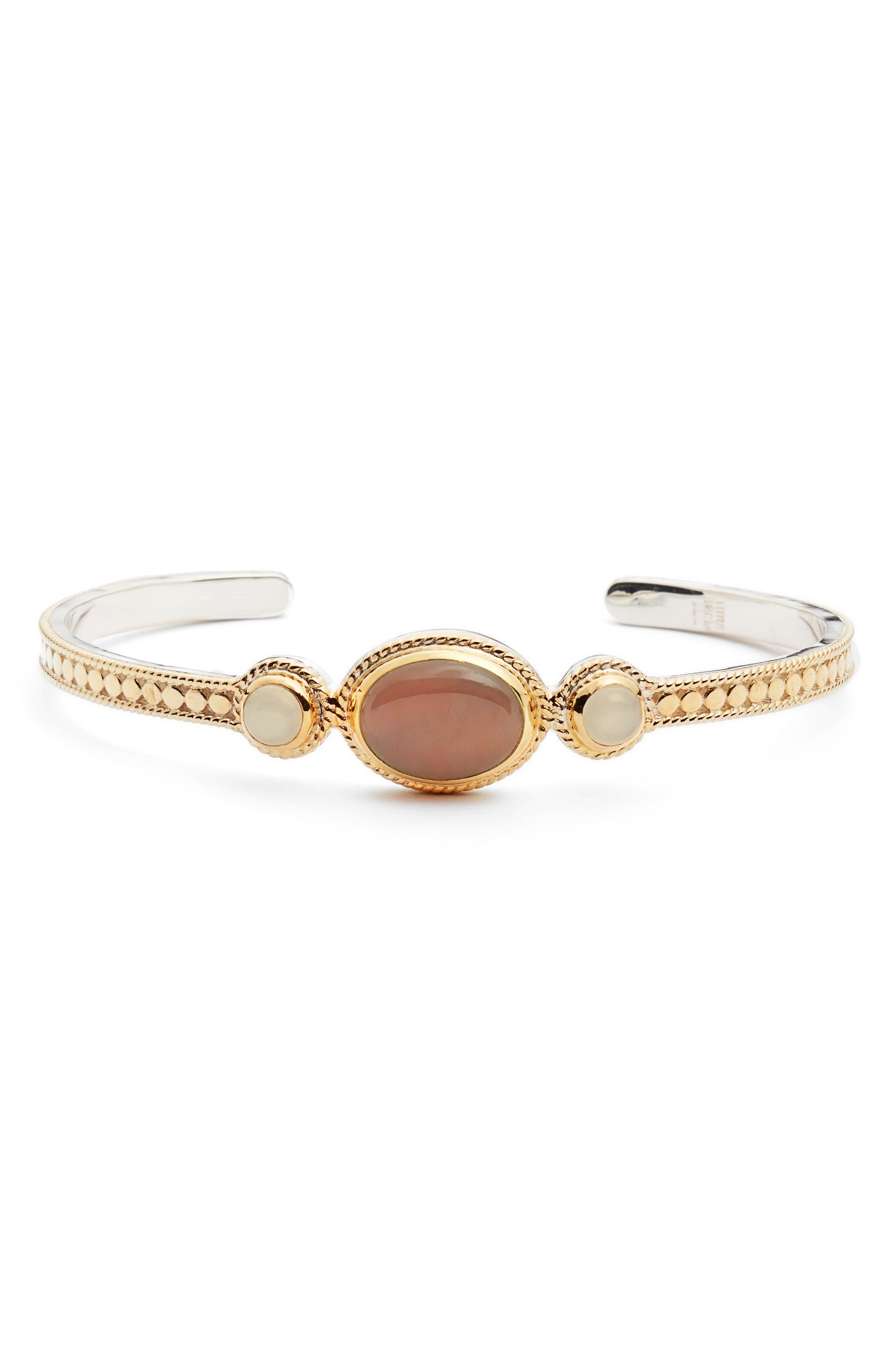 Guava Quartz & Moonstone Cuff Bracelet,                         Main,                         color, 950