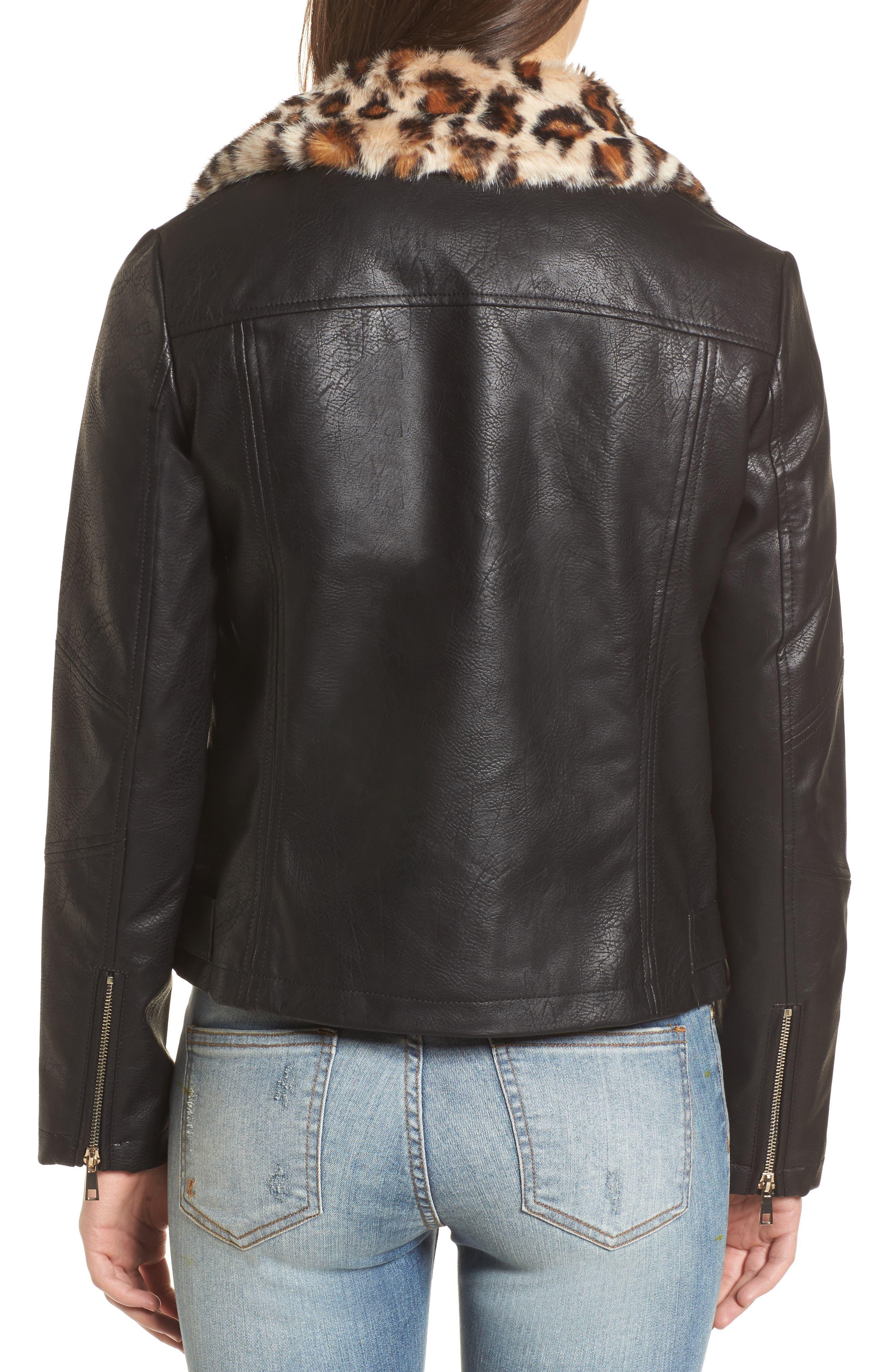 Faux Leather Biker Jacket with Faux Fur Trim,                             Alternate thumbnail 2, color,                             001