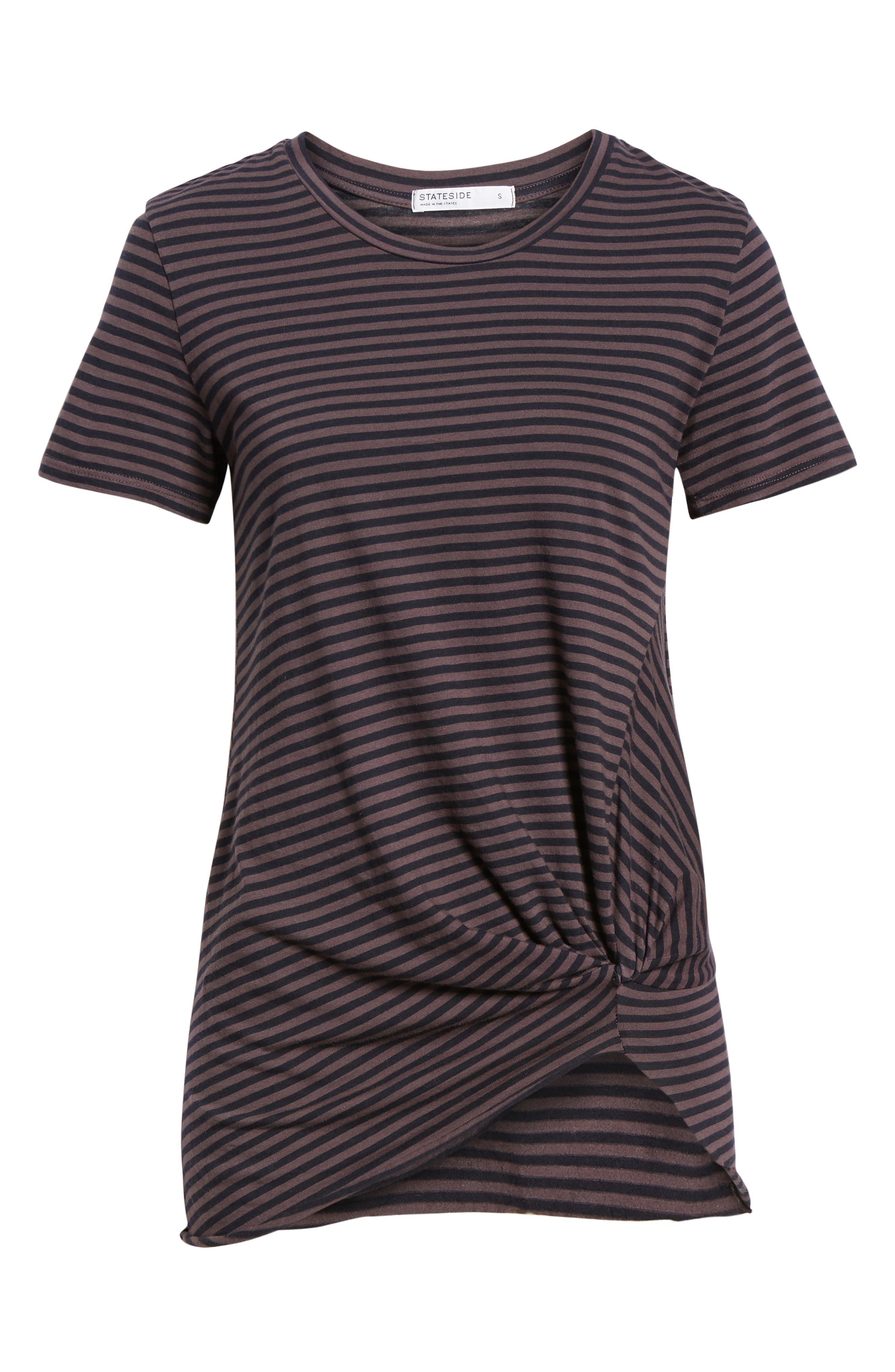 Stripe Twist Tee,                             Alternate thumbnail 6, color,                             TAUPE