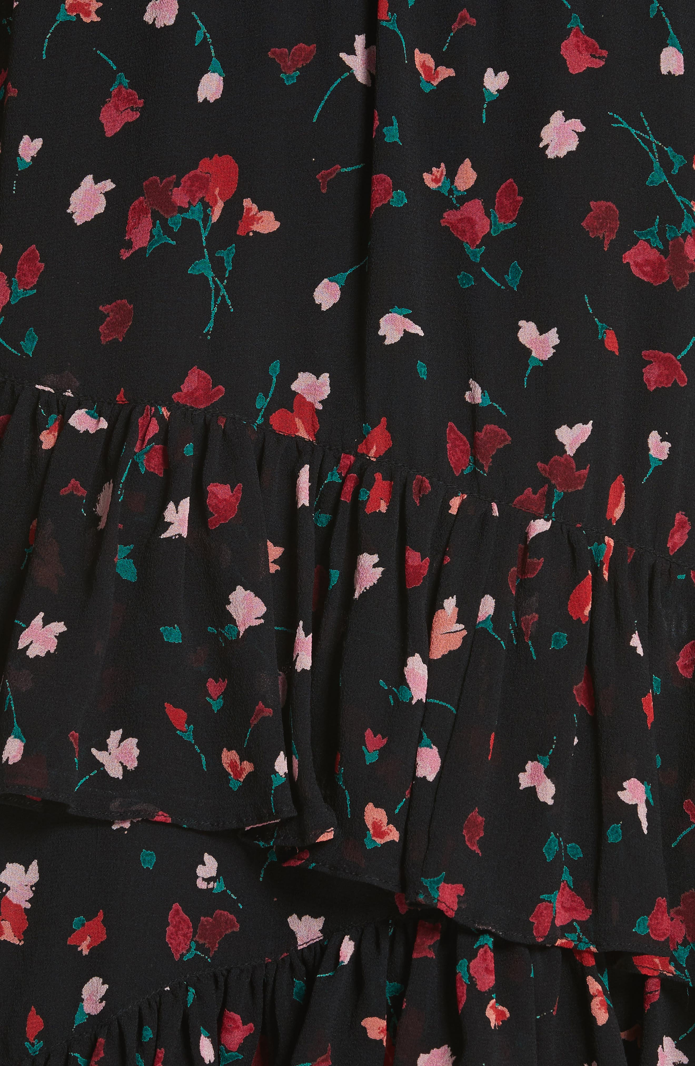 JOIE,                             Gorowen Floral Silk Skirt,                             Alternate thumbnail 5, color,                             001