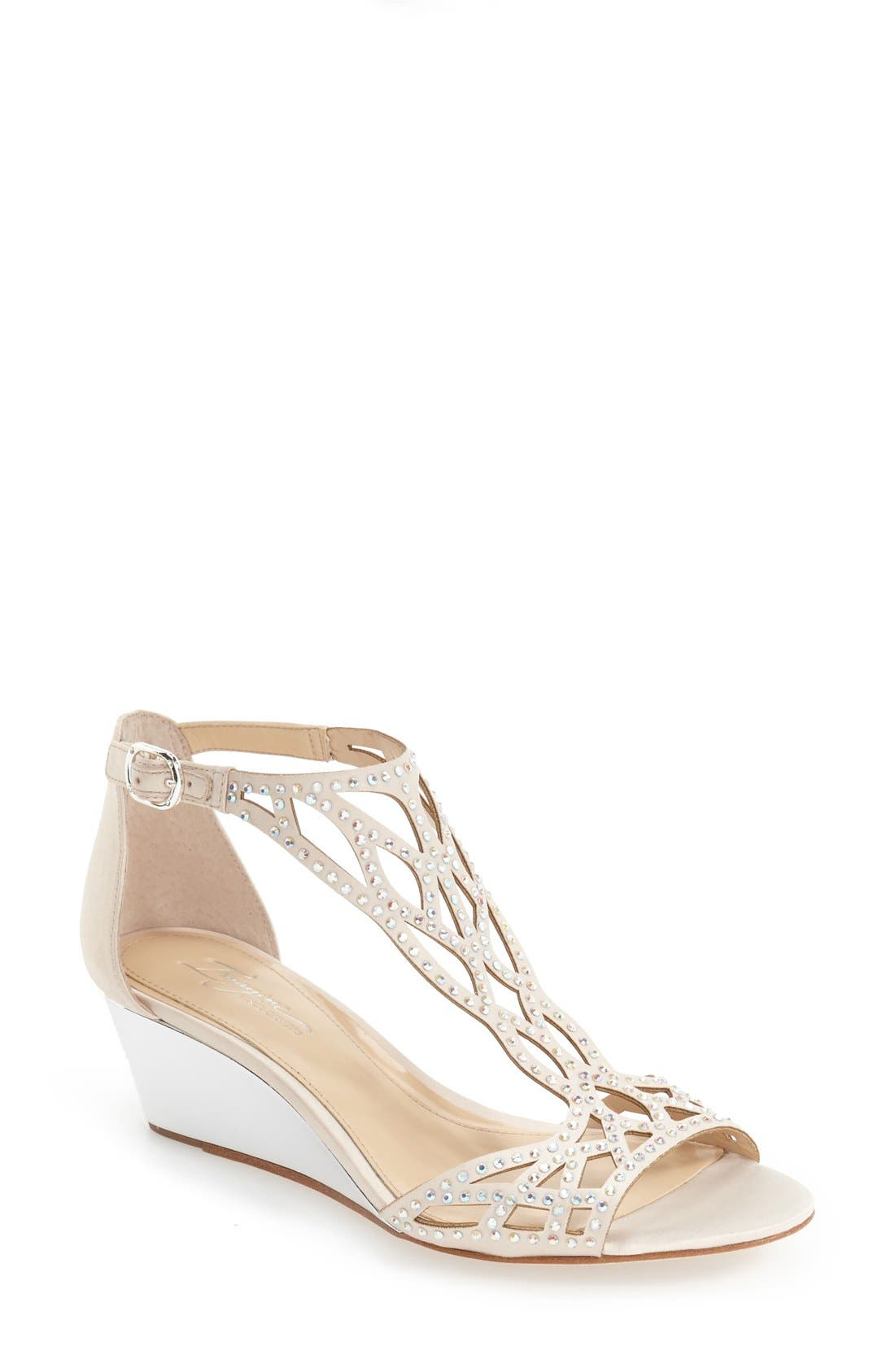 'Jalen' Wedge Sandal,                             Main thumbnail 1, color,                             VANILLA SATIN