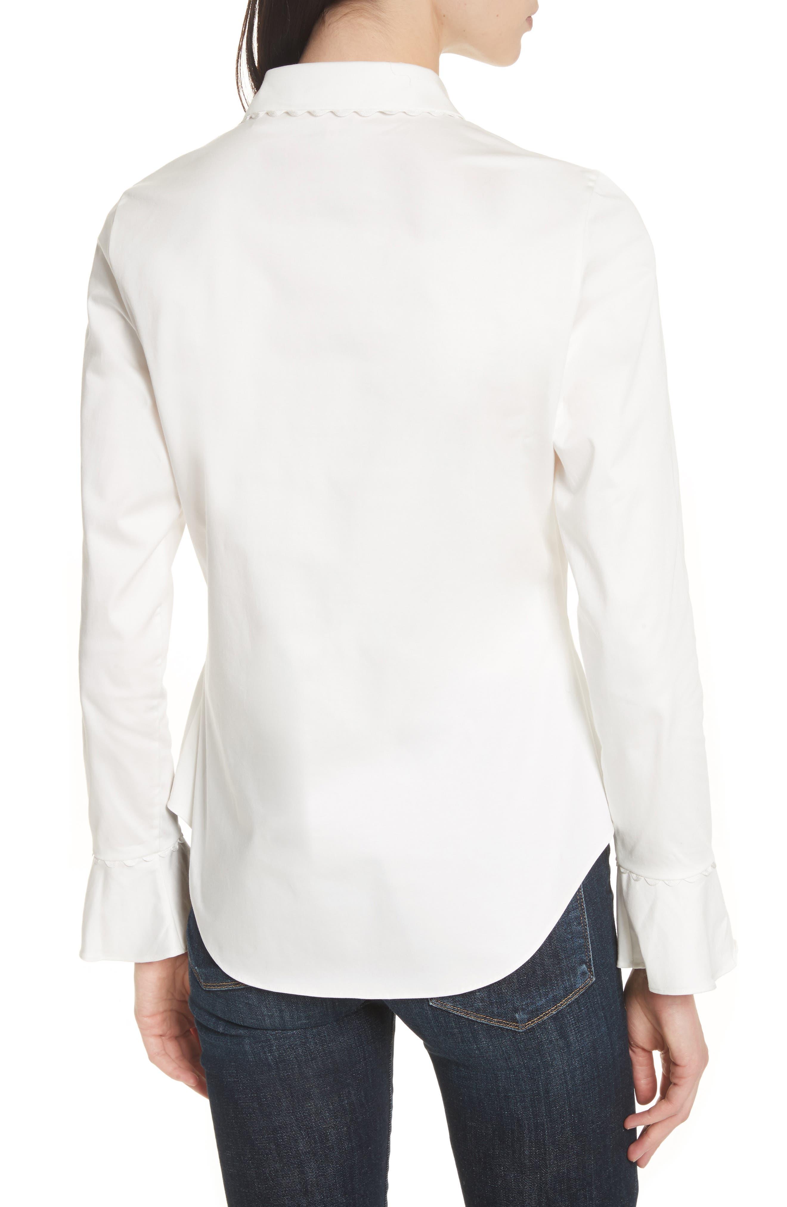 Fluted Scallop Trim Shirt,                             Alternate thumbnail 2, color,                             110