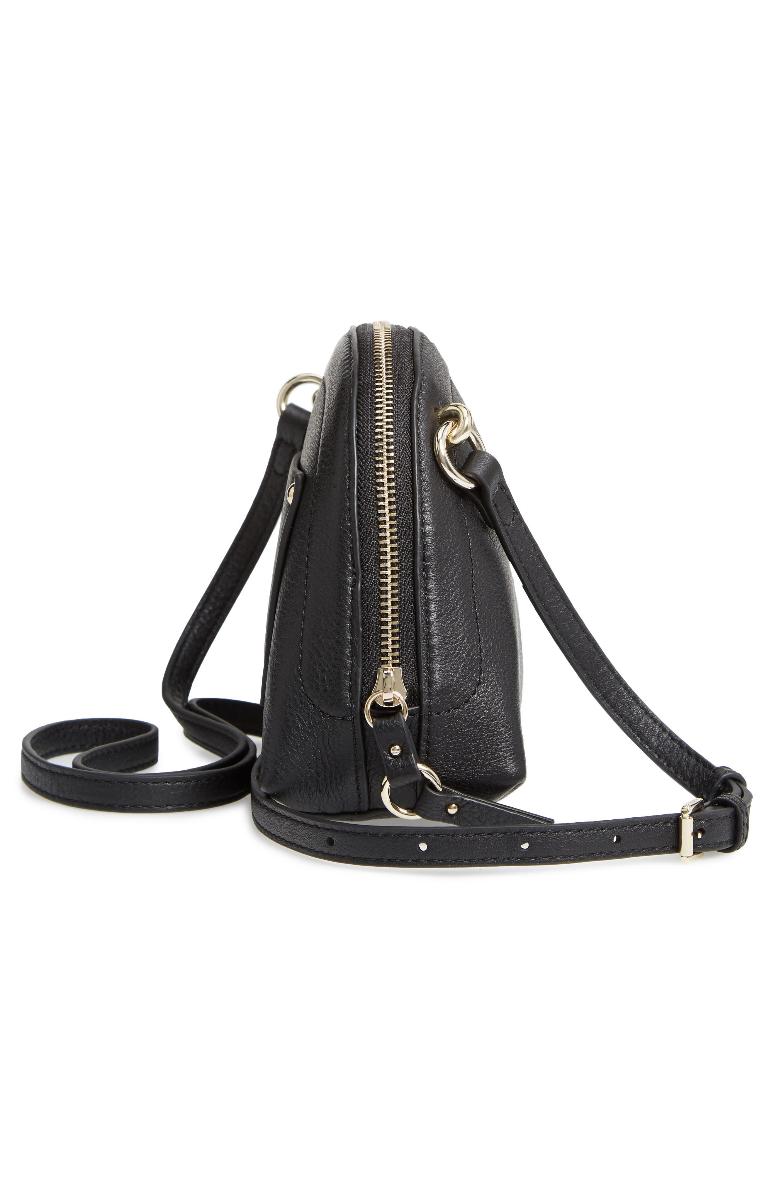 Katja Leather Half-Moon Crossbody Bag,                             Alternate thumbnail 5, color,                             001