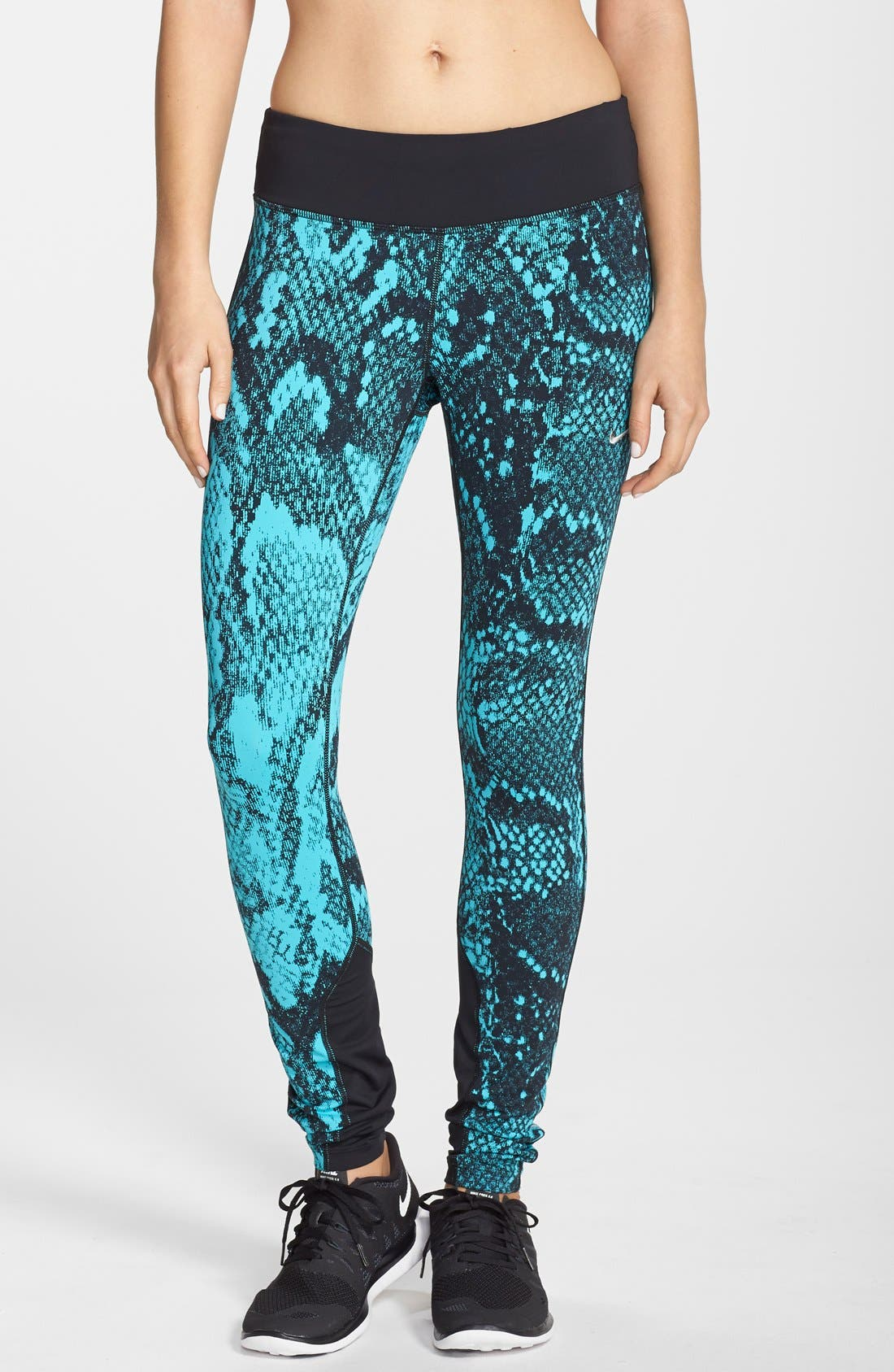 'Epic Lux' Snakeskin Print Running Tights,                             Main thumbnail 3, color,