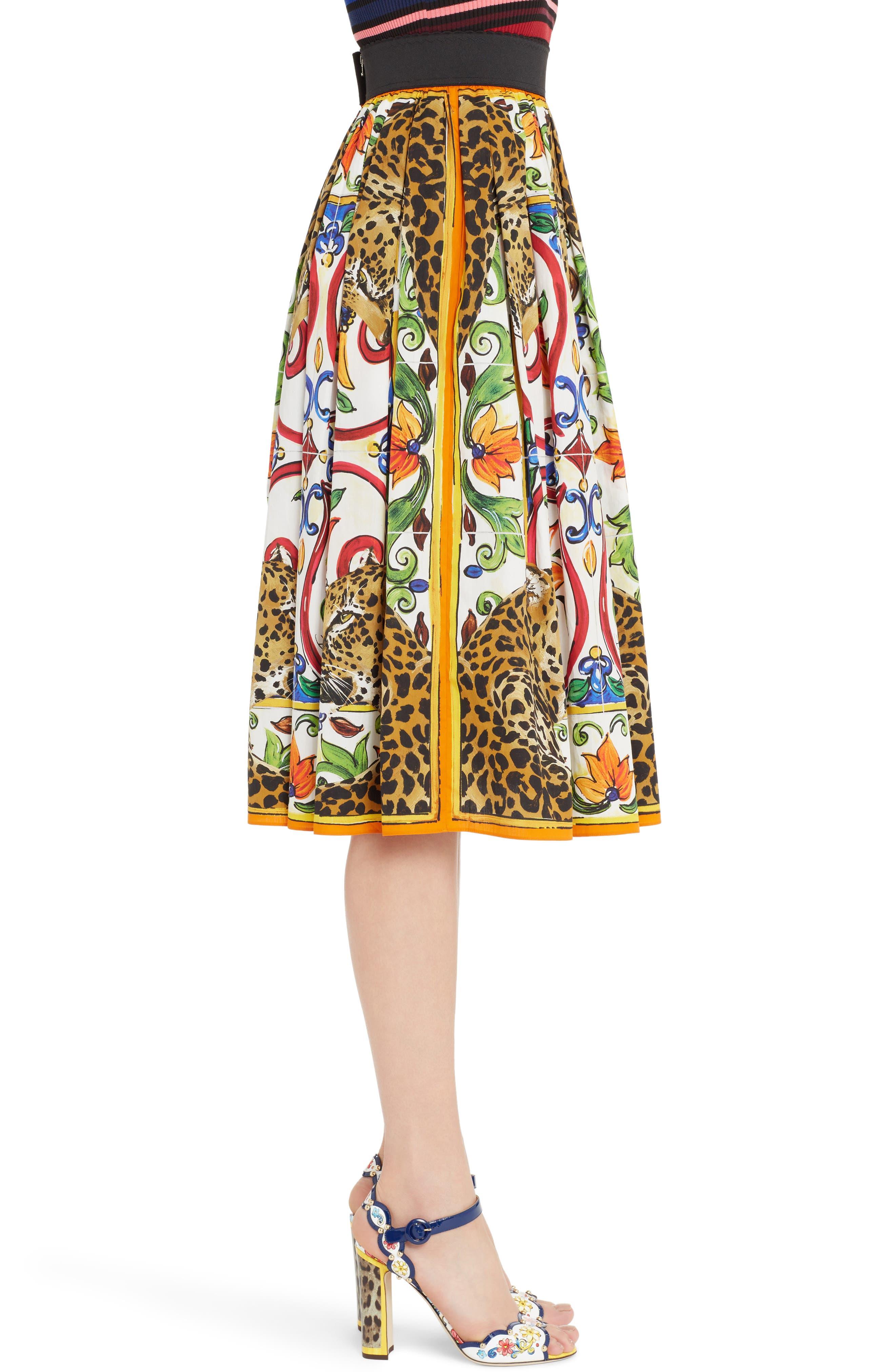 Maiolica Print Cotton Skirt,                             Alternate thumbnail 3, color,                             115