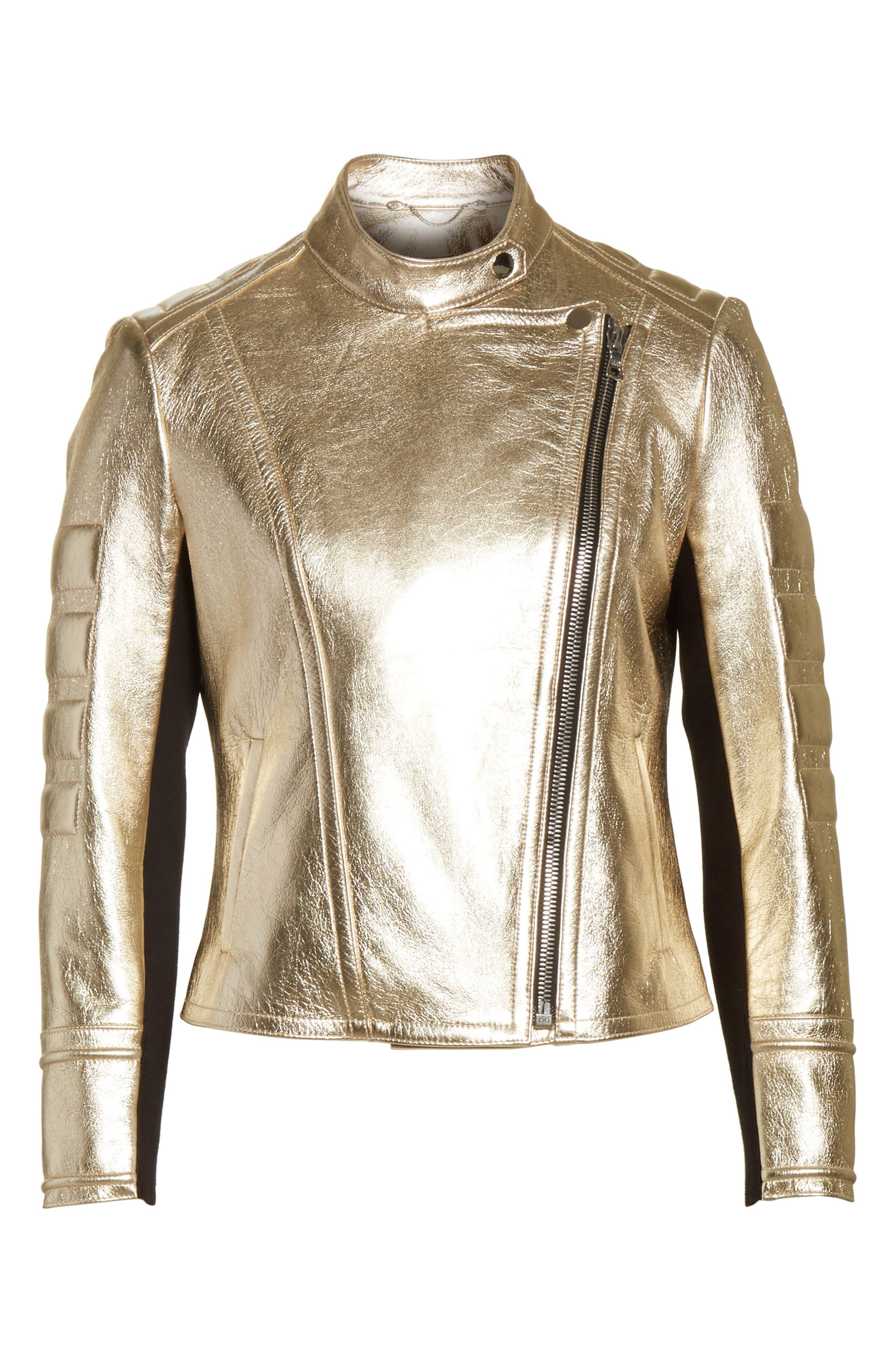 Foiled Metallic Leather Moto Jacket,                             Alternate thumbnail 5, color,