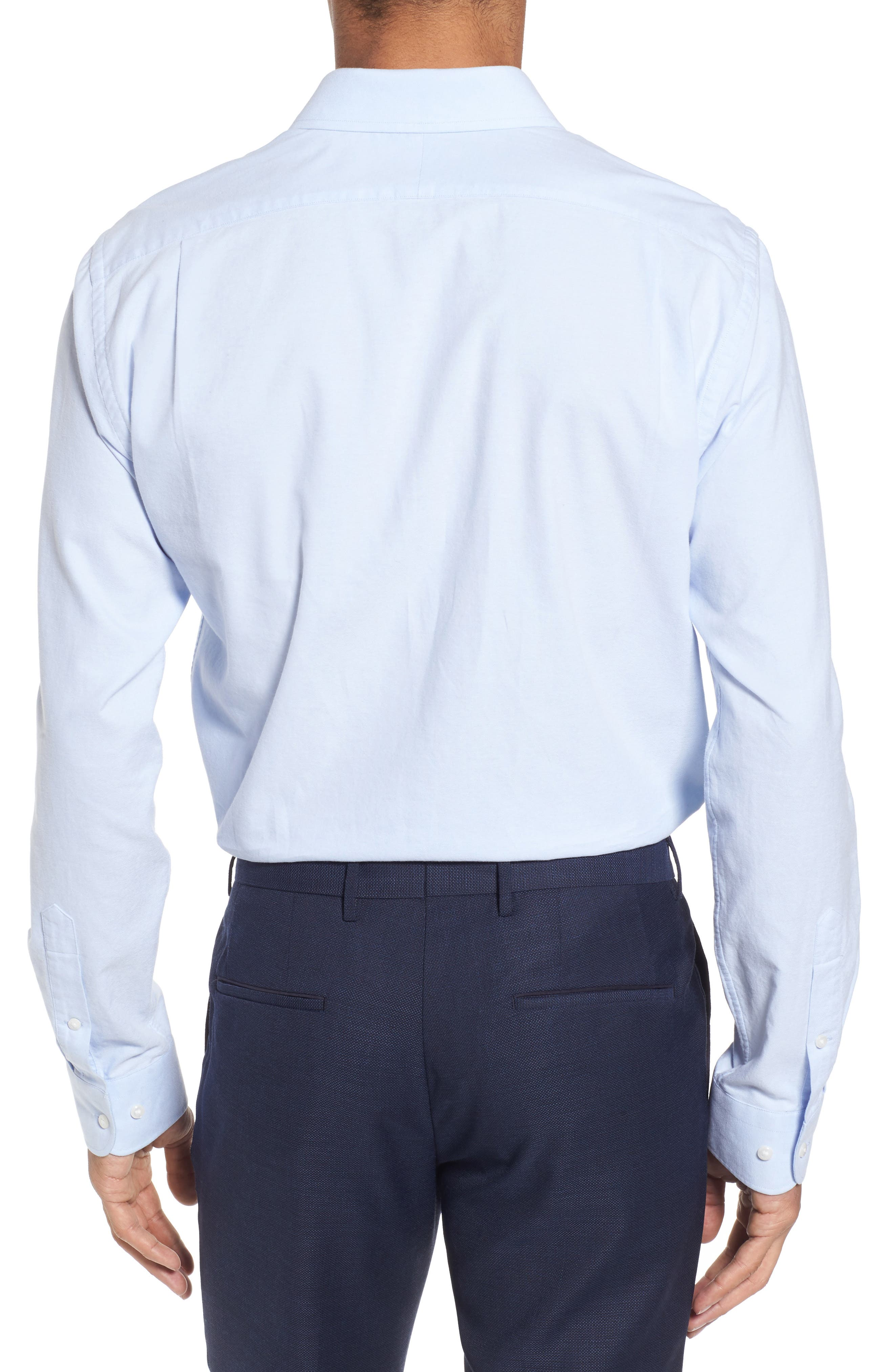 Trim Fit Patterned Dress Shirt,                             Alternate thumbnail 2, color,
