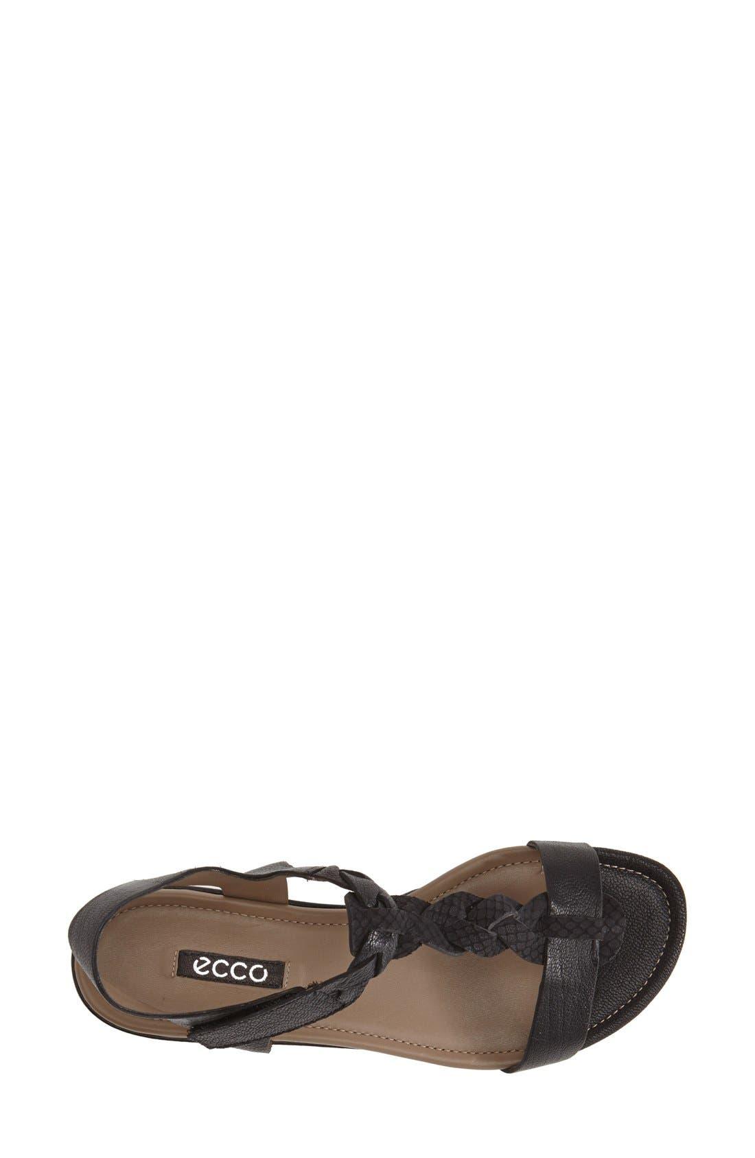 ECCO,                             'Bouillon' Leather Sandal,                             Alternate thumbnail 3, color,                             001
