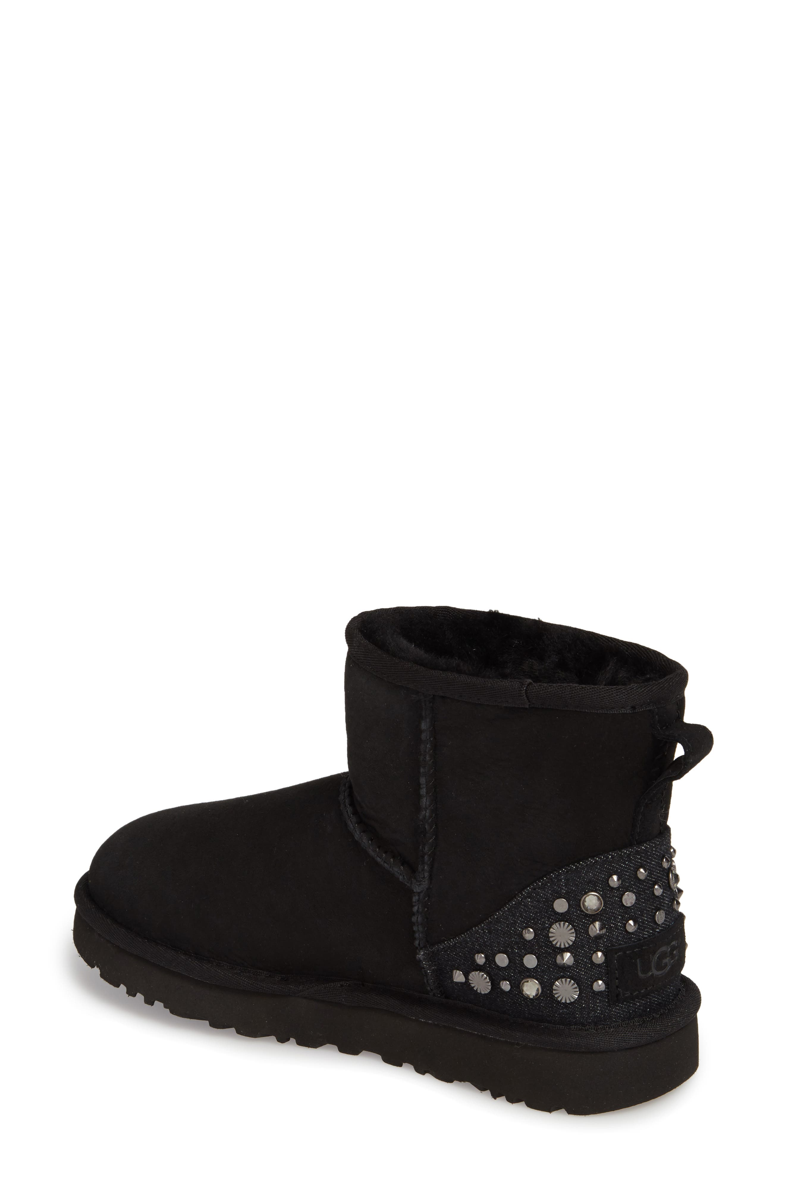 Studded Mini Genuine Shearling Lined Boot,                             Alternate thumbnail 2, color,                             001