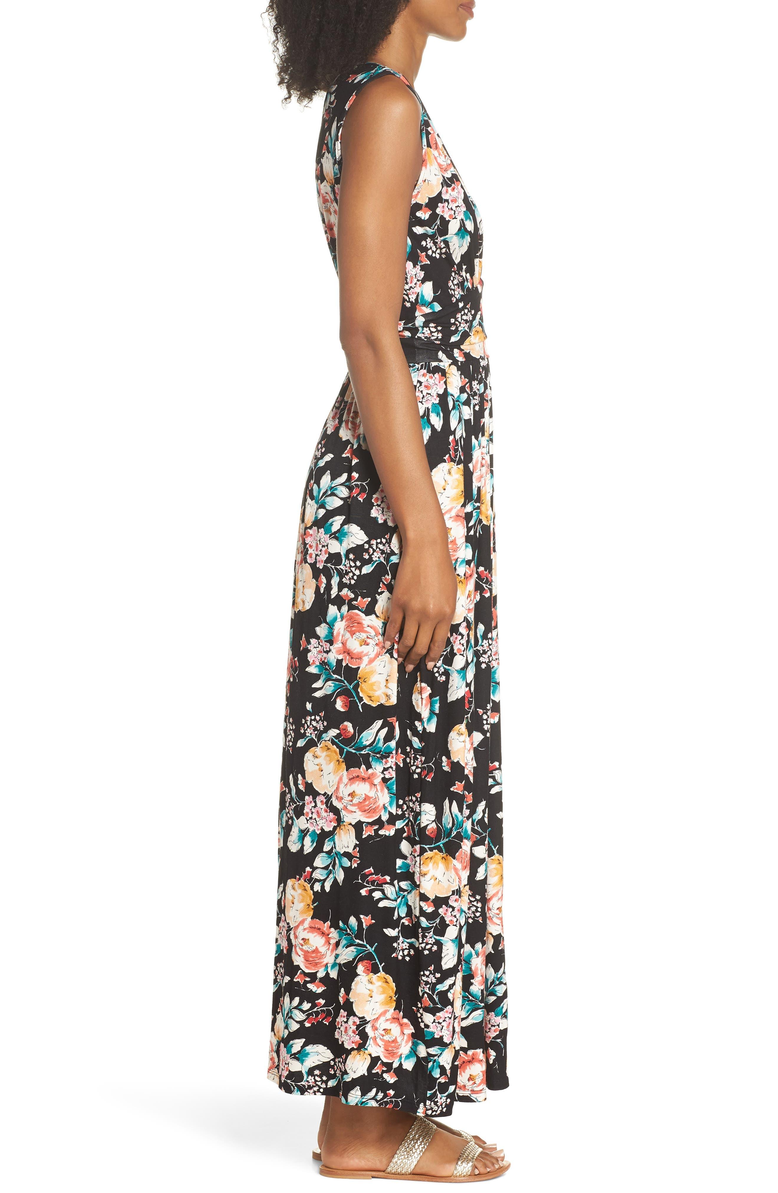 Peony Deep V Maxi Dress,                             Alternate thumbnail 3, color,                             PEONY