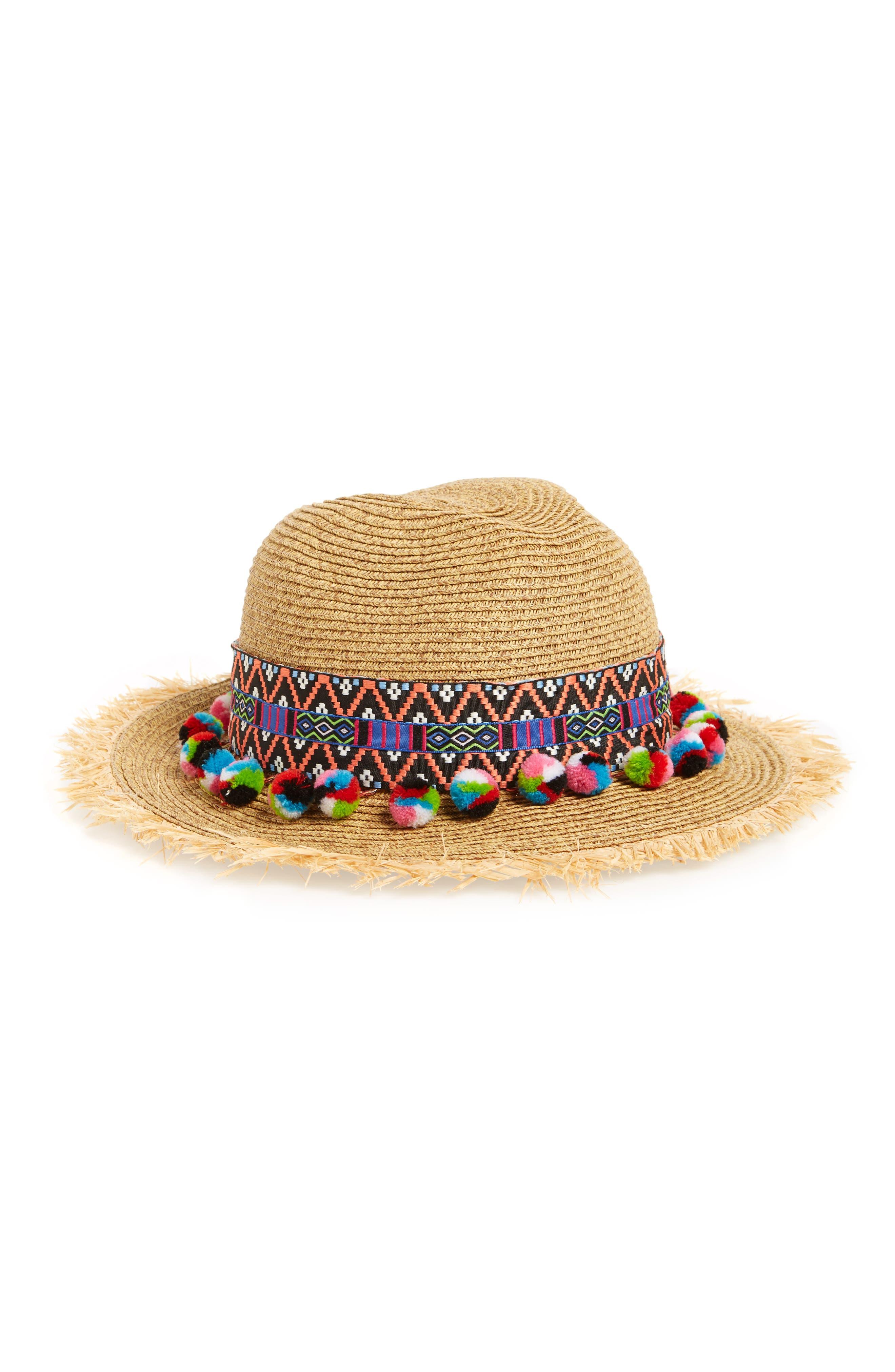 Multicolor Pom Straw Fedora,                         Main,                         color,