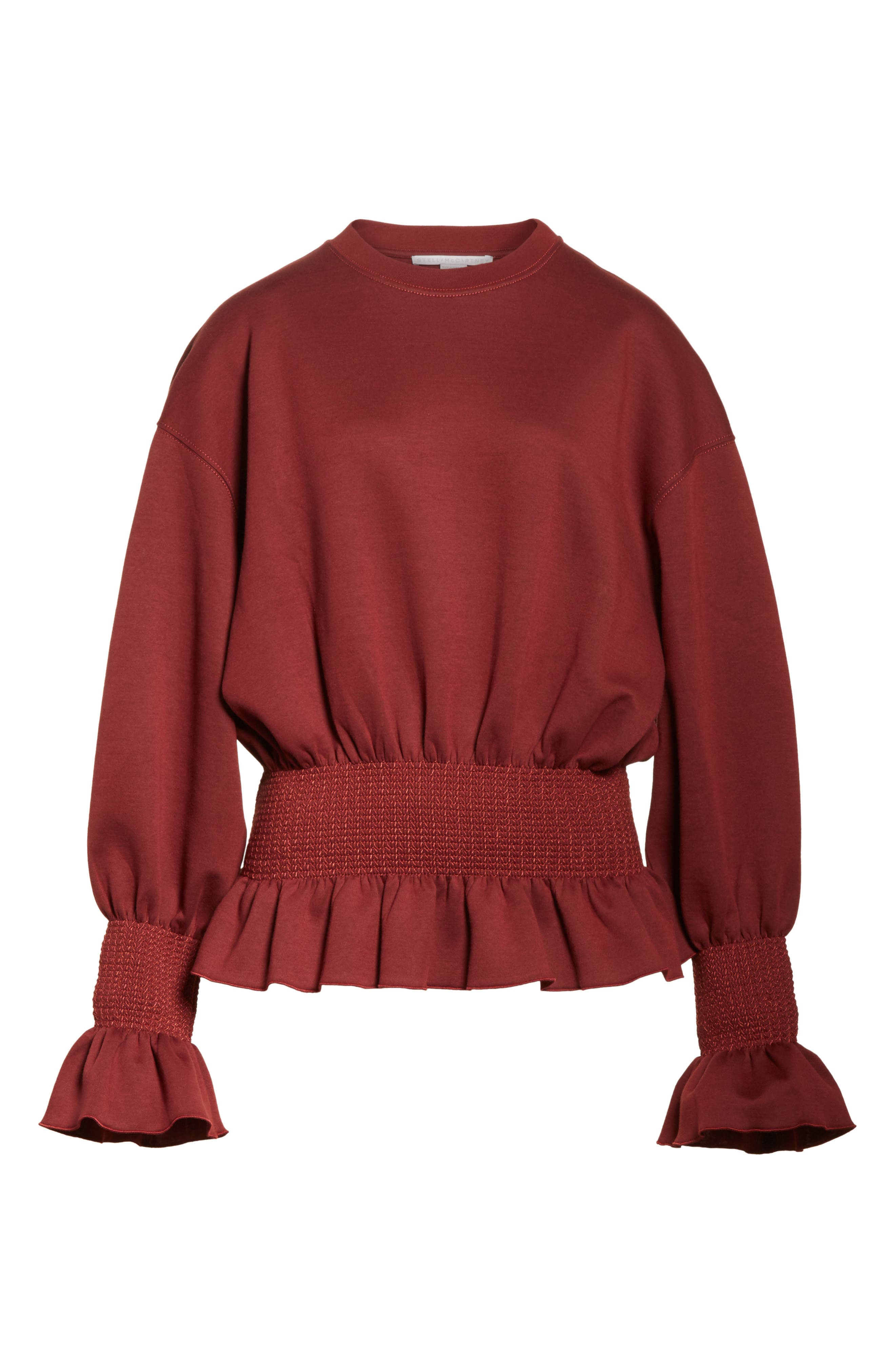 Ruched Ruffle Waist Sweatshirt,                             Alternate thumbnail 6, color,                             930