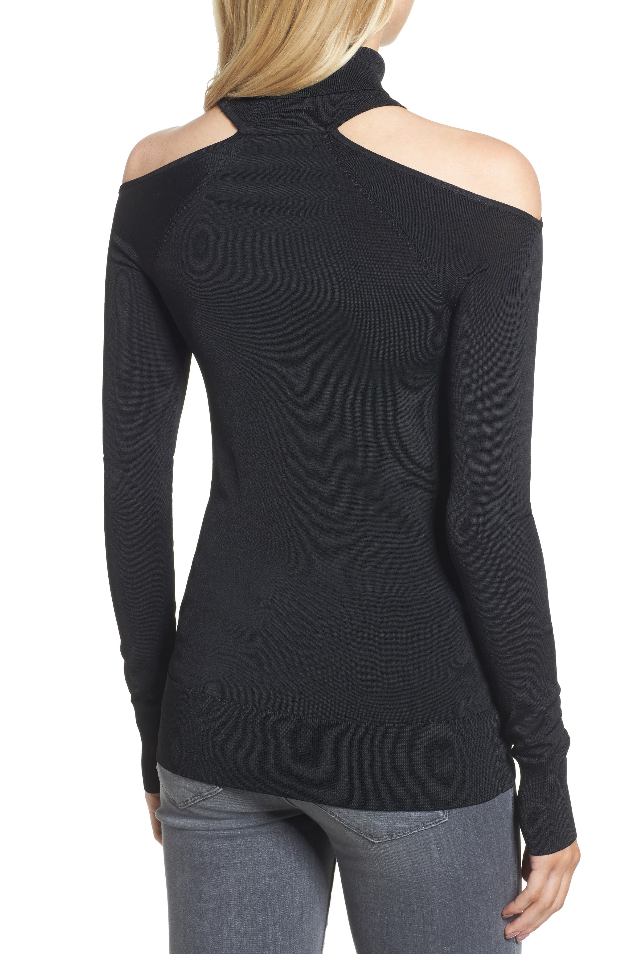 Cutout Turtleneck,                             Alternate thumbnail 2, color,                             001