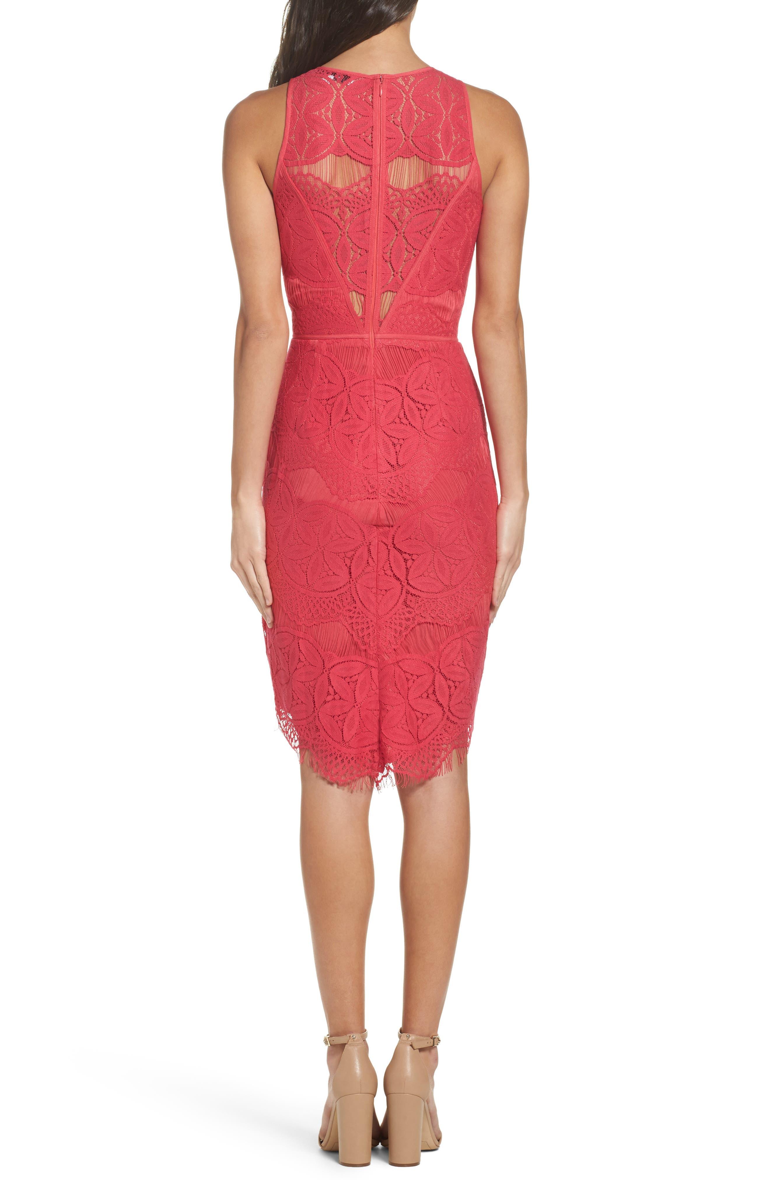 Lace High/Low Sheath Dress,                             Alternate thumbnail 17, color,