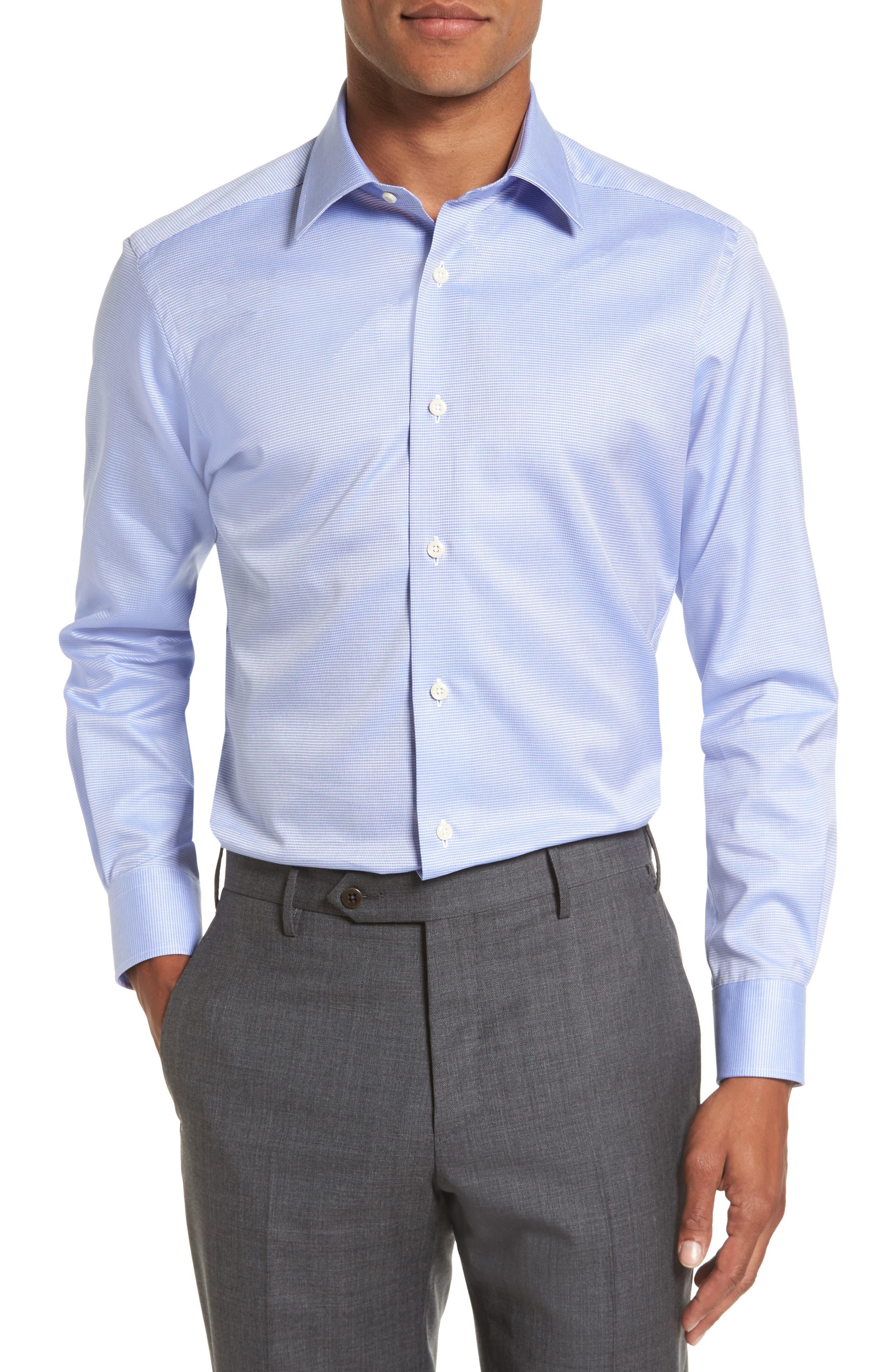 Trim Fit Microcheck Dress Shirt,                         Main,                         color, BLUE
