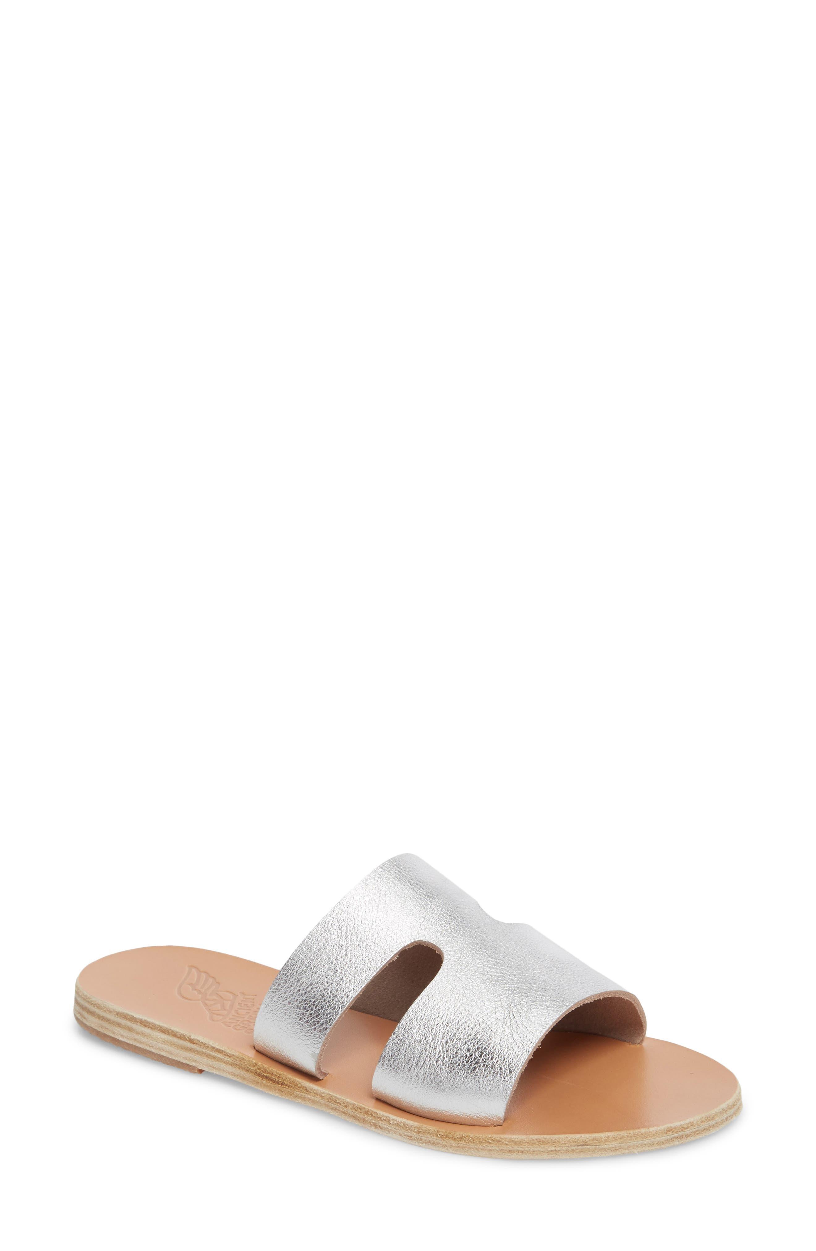Apteros Slide Sandal,                         Main,                         color, METAL SILVER