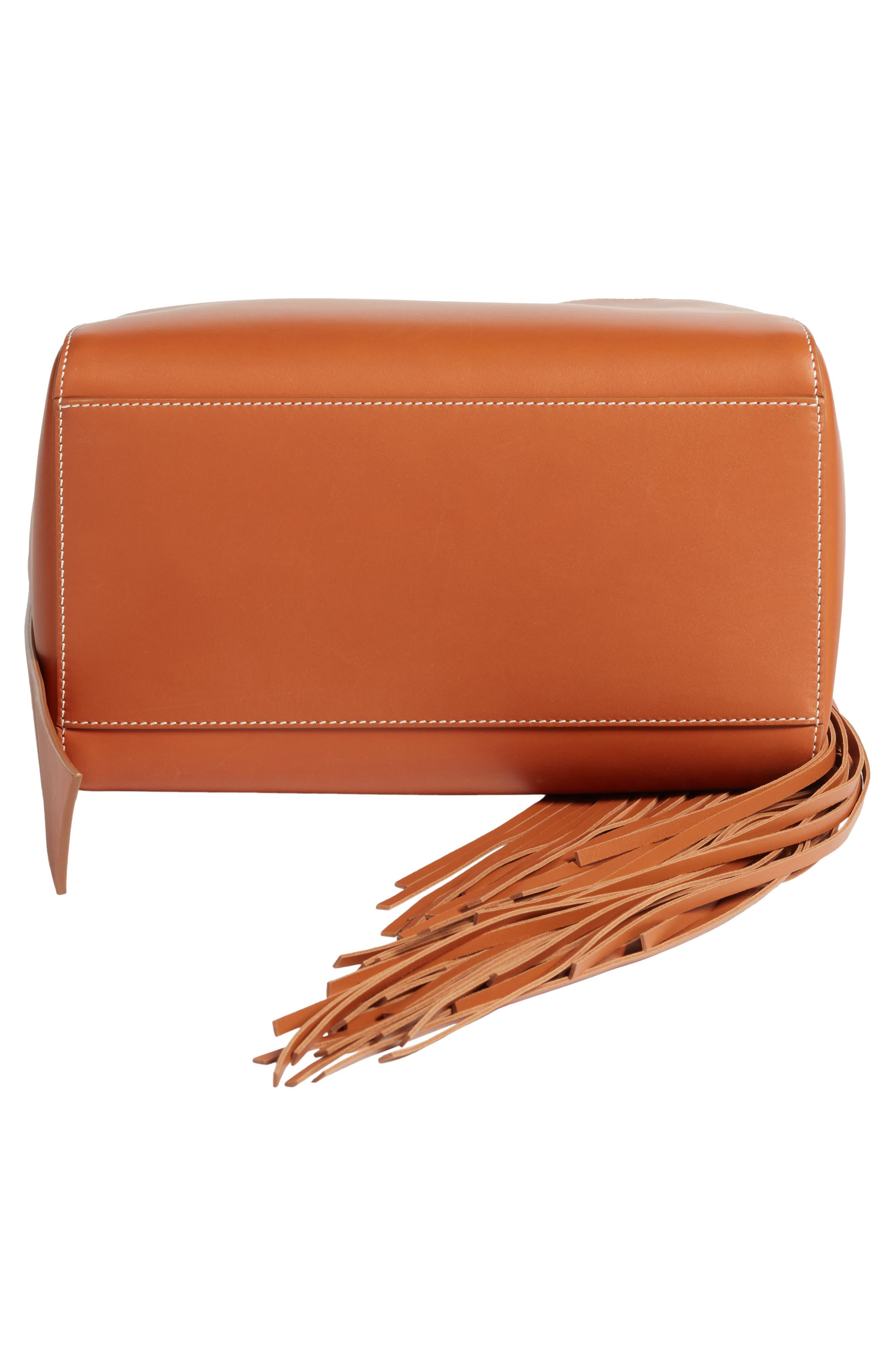 Fringe Leather Bucket Bag,                             Alternate thumbnail 5, color,                             COGNAC