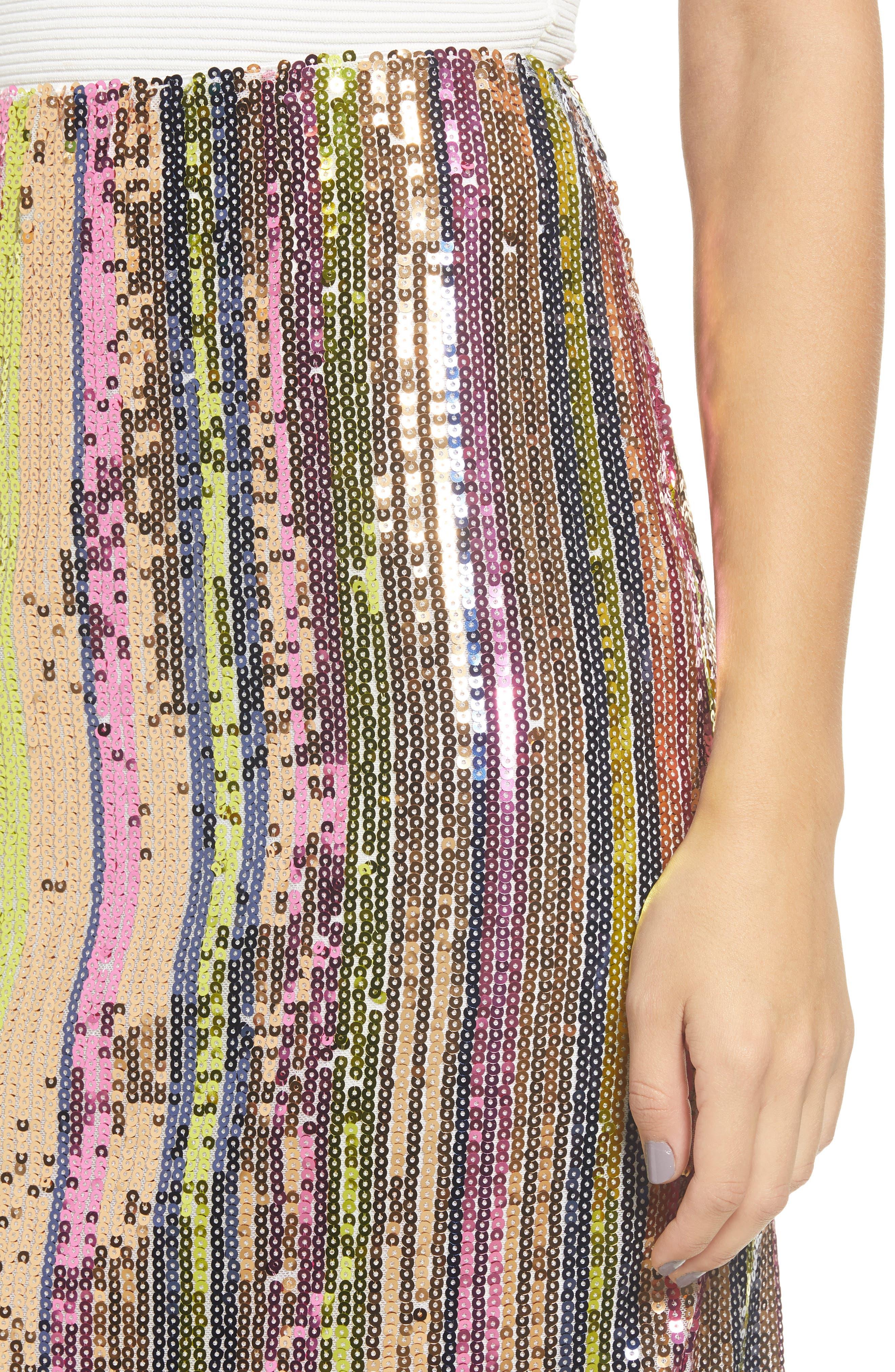 Rainbow Sequin Midi Skirt,                             Alternate thumbnail 3, color,                             PURPLE MAGENTA MULTI