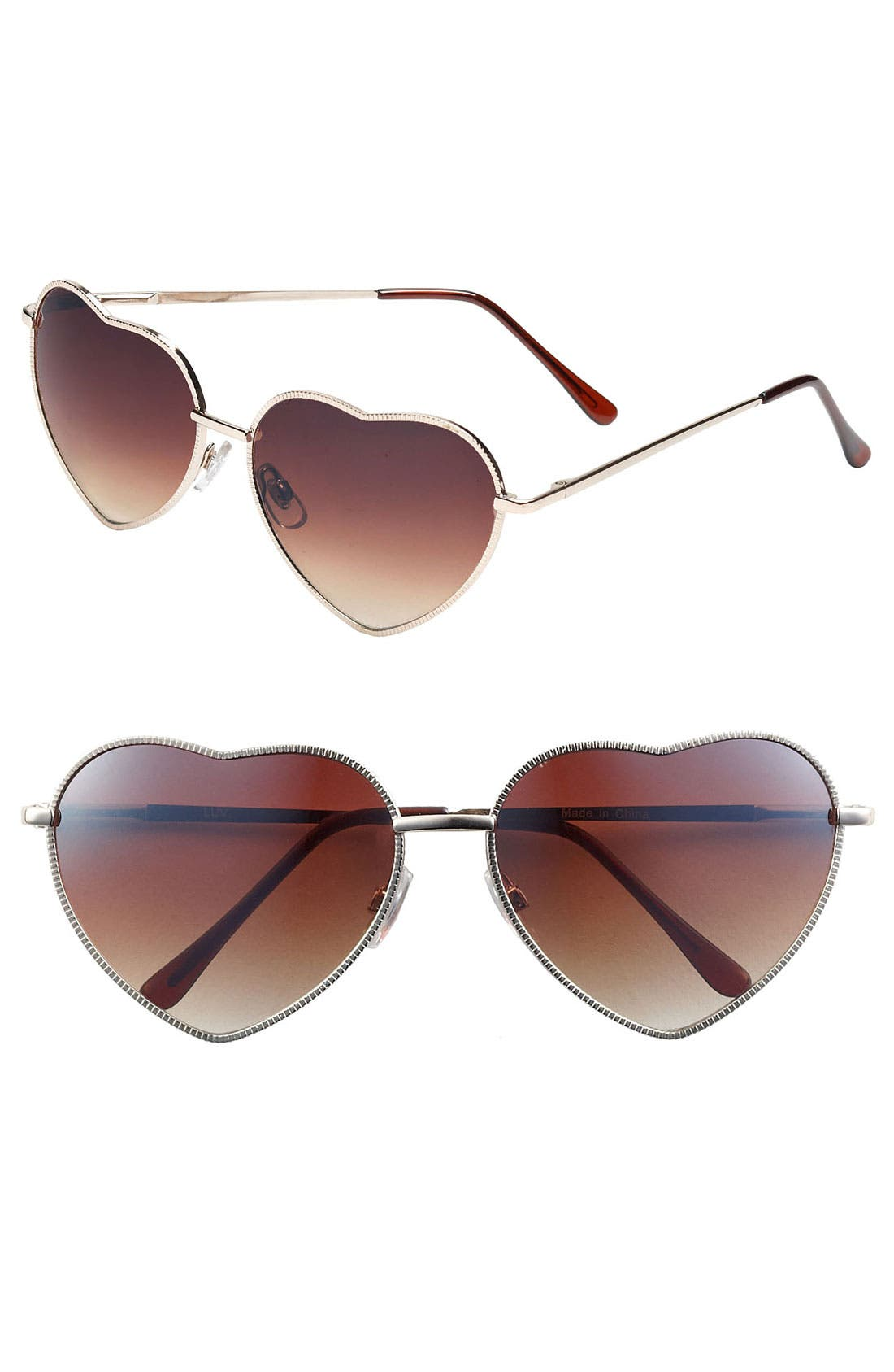 Heart Shaped 58mm Sunglasses,                             Main thumbnail 1, color,                             GOLD/ BROWN