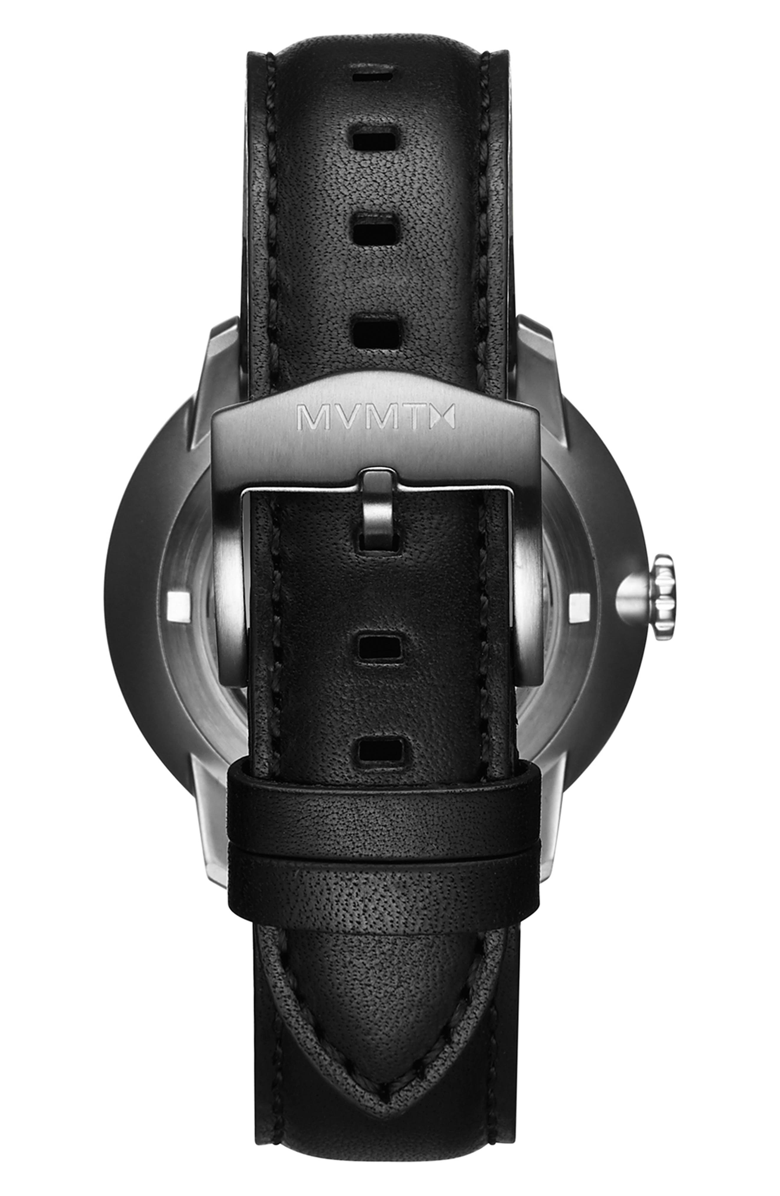 Automatic Leather Strap Watch,                             Alternate thumbnail 2, color,                             GUNMETAL/ BLACK