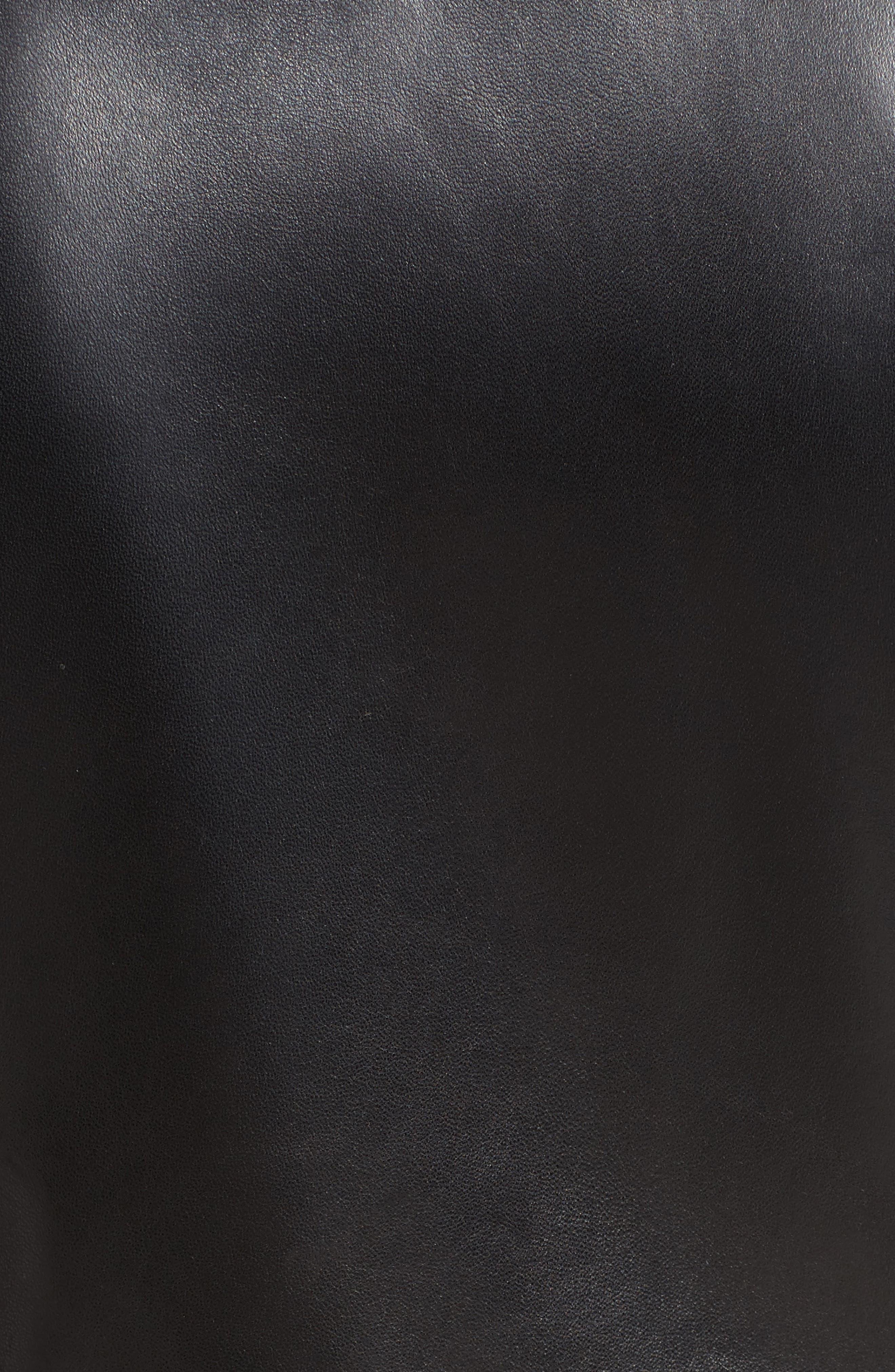 Leather Moto Jacket,                             Alternate thumbnail 6, color,                             GRANITO