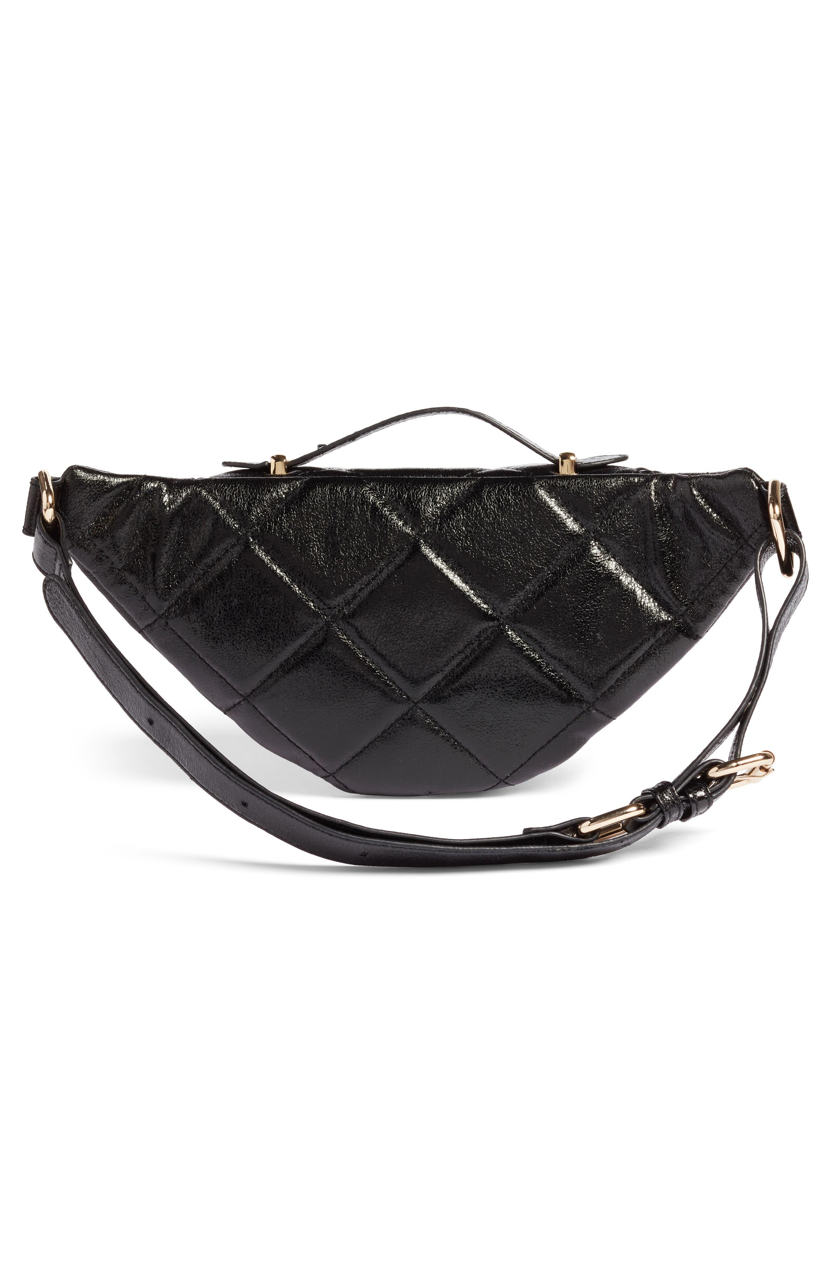 Quilted Faux Leather Belt Bag,                             Alternate thumbnail 3, color,                             BLACK