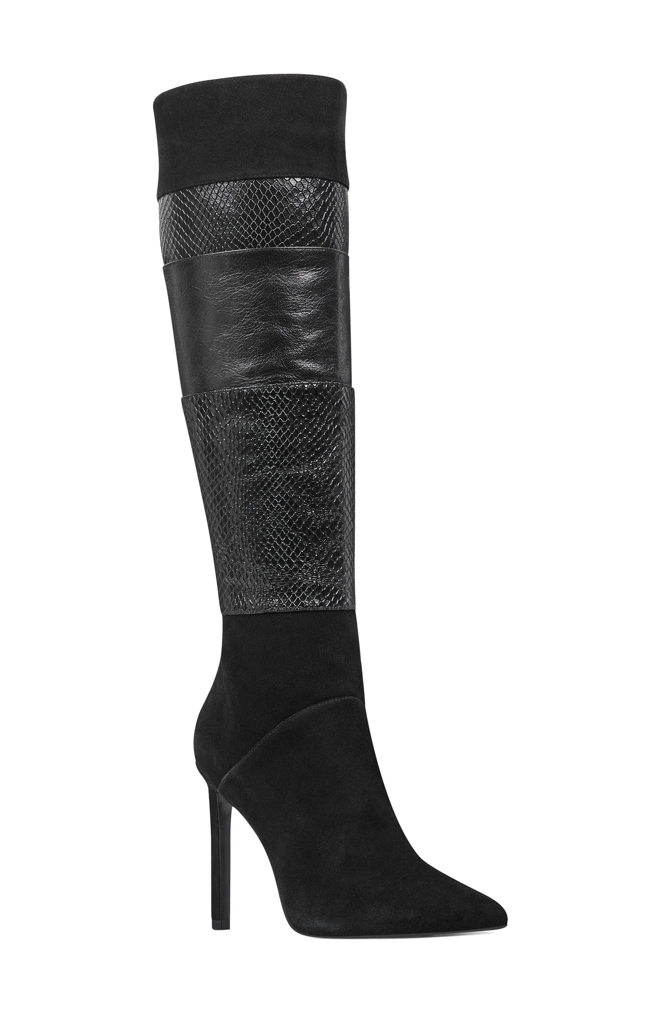 Toprank Blocked Knee High Boot, Main, color, BLACK SUEDE