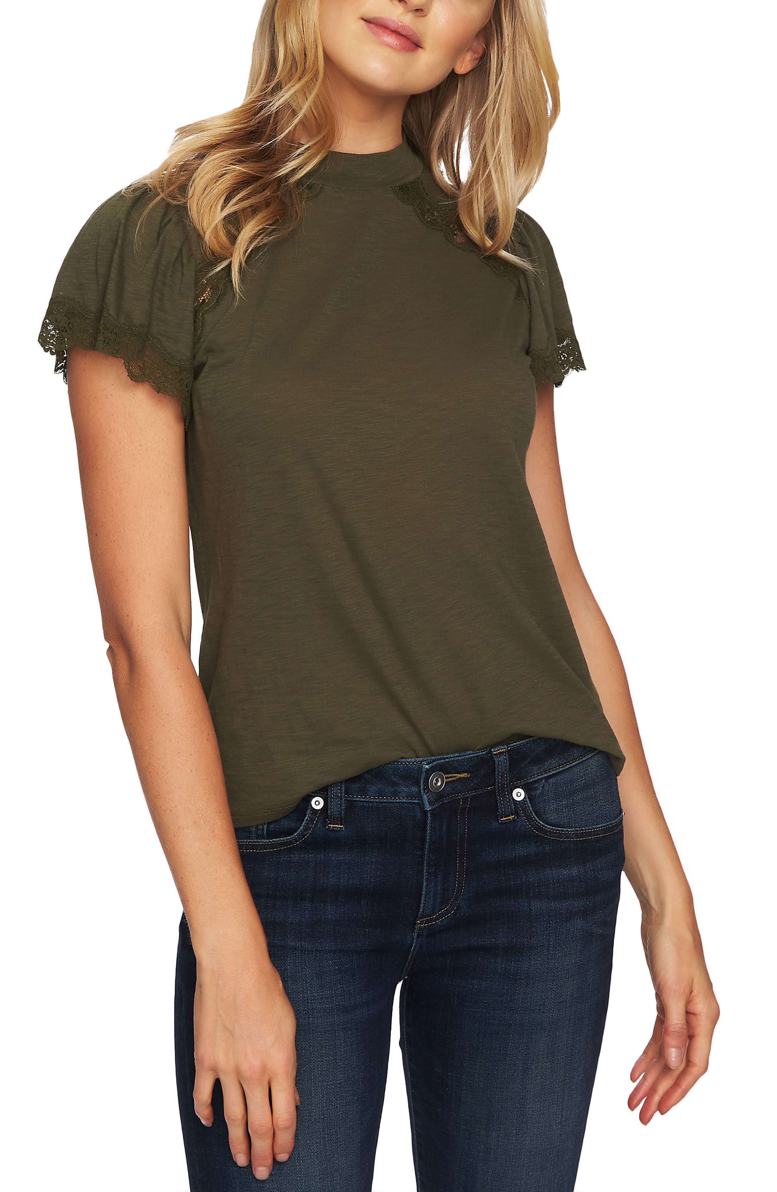 Lace Detail Cotton Blend Tee,                             Main thumbnail 1, color,                             MILITARY GREEN