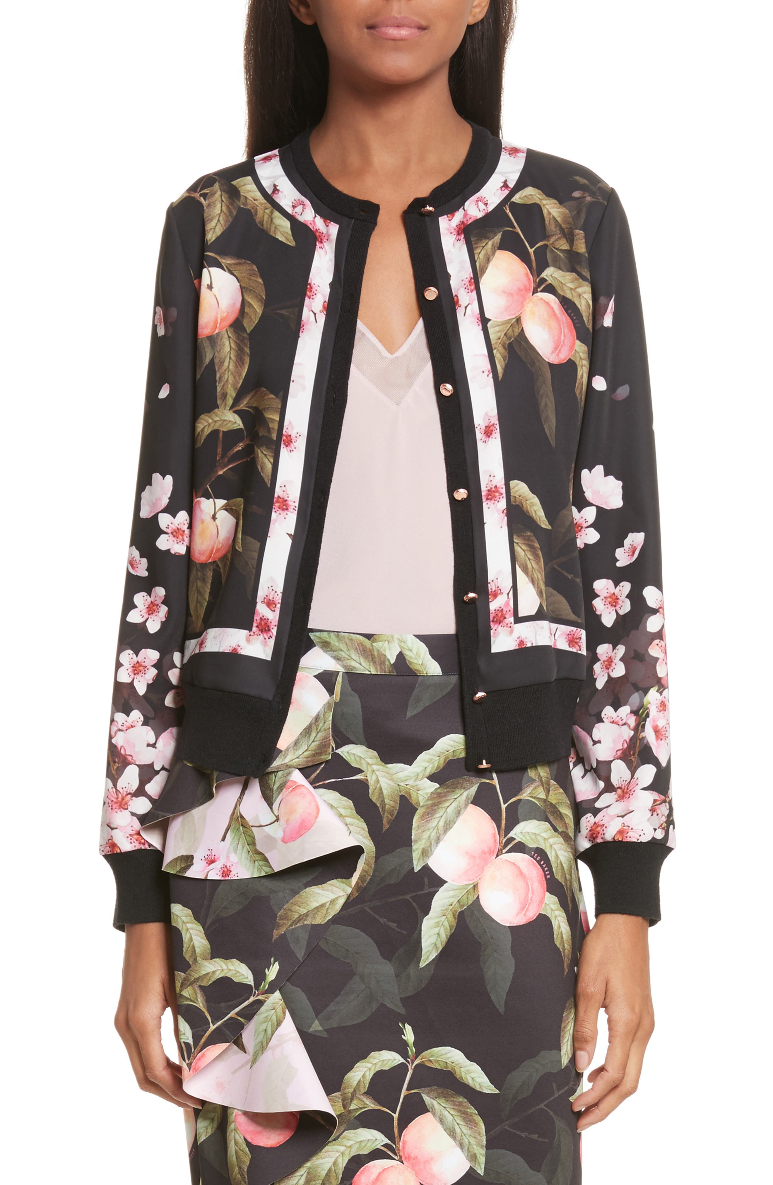Peach Blossom Woven Bomber,                             Main thumbnail 1, color,                             001