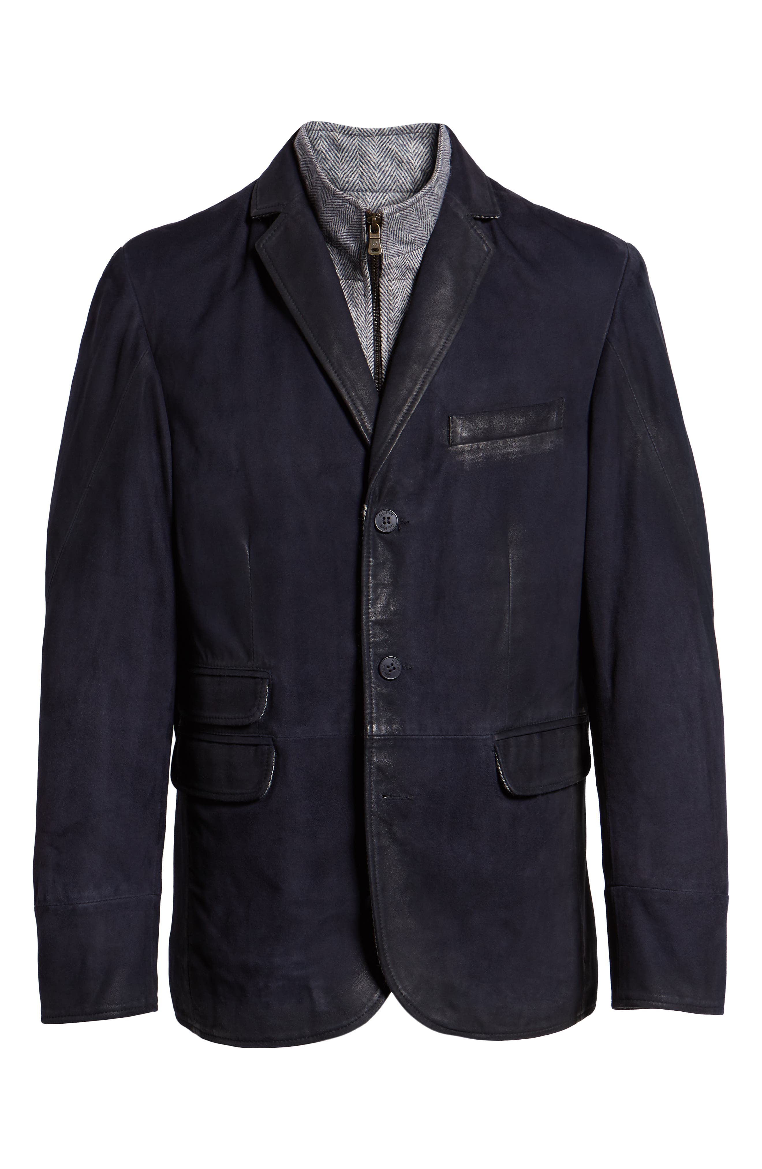 Zip Insert Leather Blazer,                             Alternate thumbnail 5, color,                             NAVY