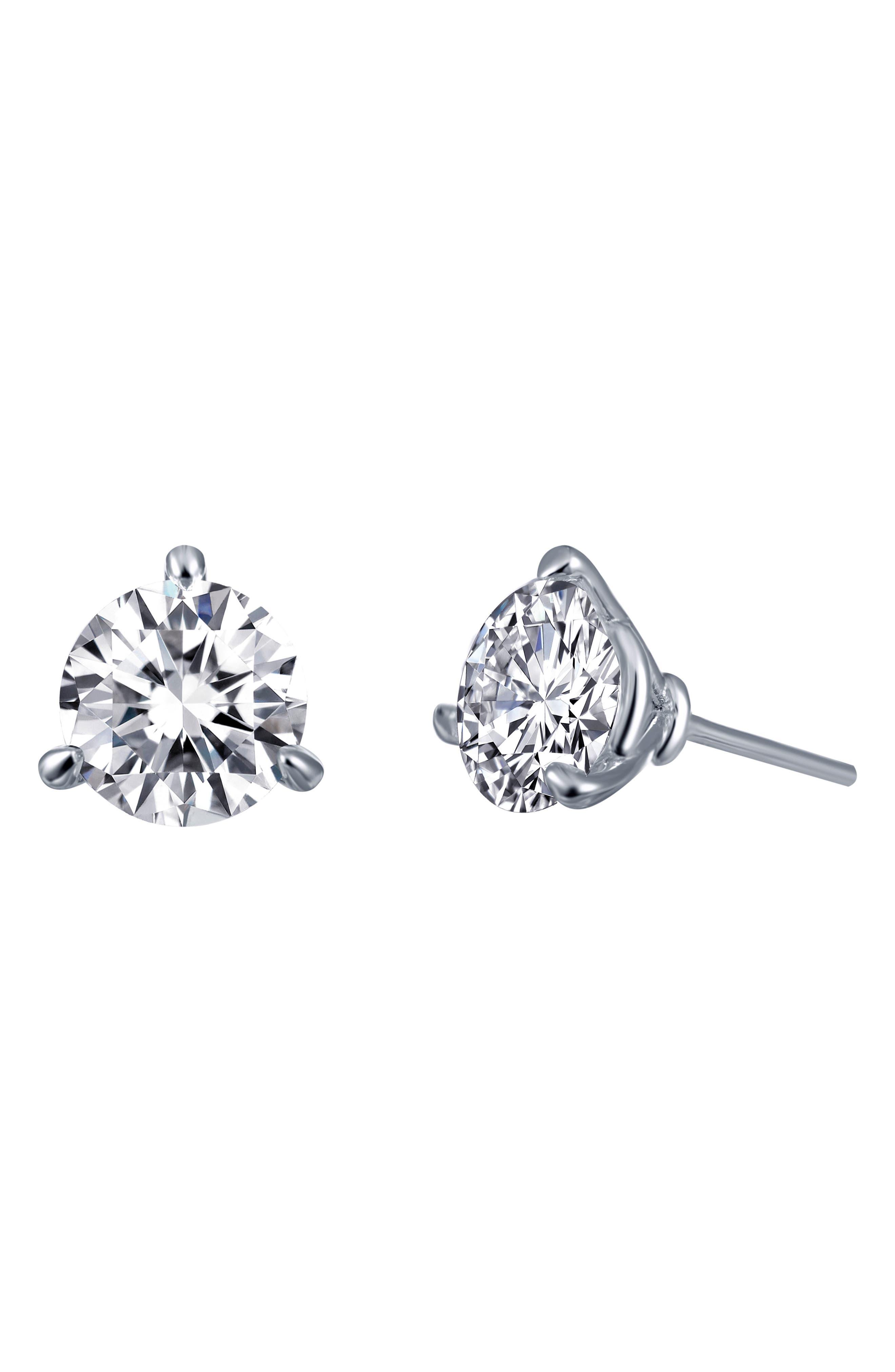 LAFONN,                             Simulated Diamond Stud Earrings,                             Main thumbnail 1, color,                             SILVER/ CLEAR