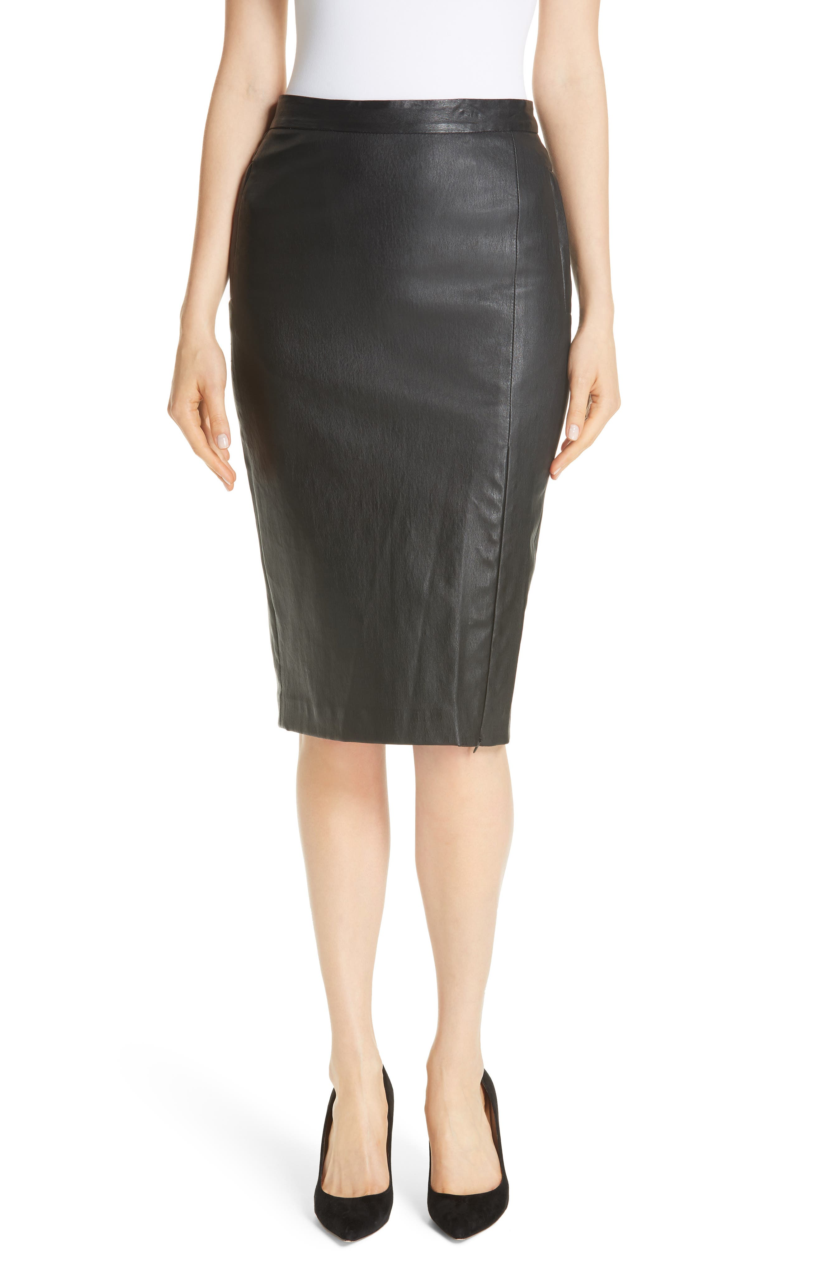 Leather Pencil Skirt,                         Main,                         color, 001