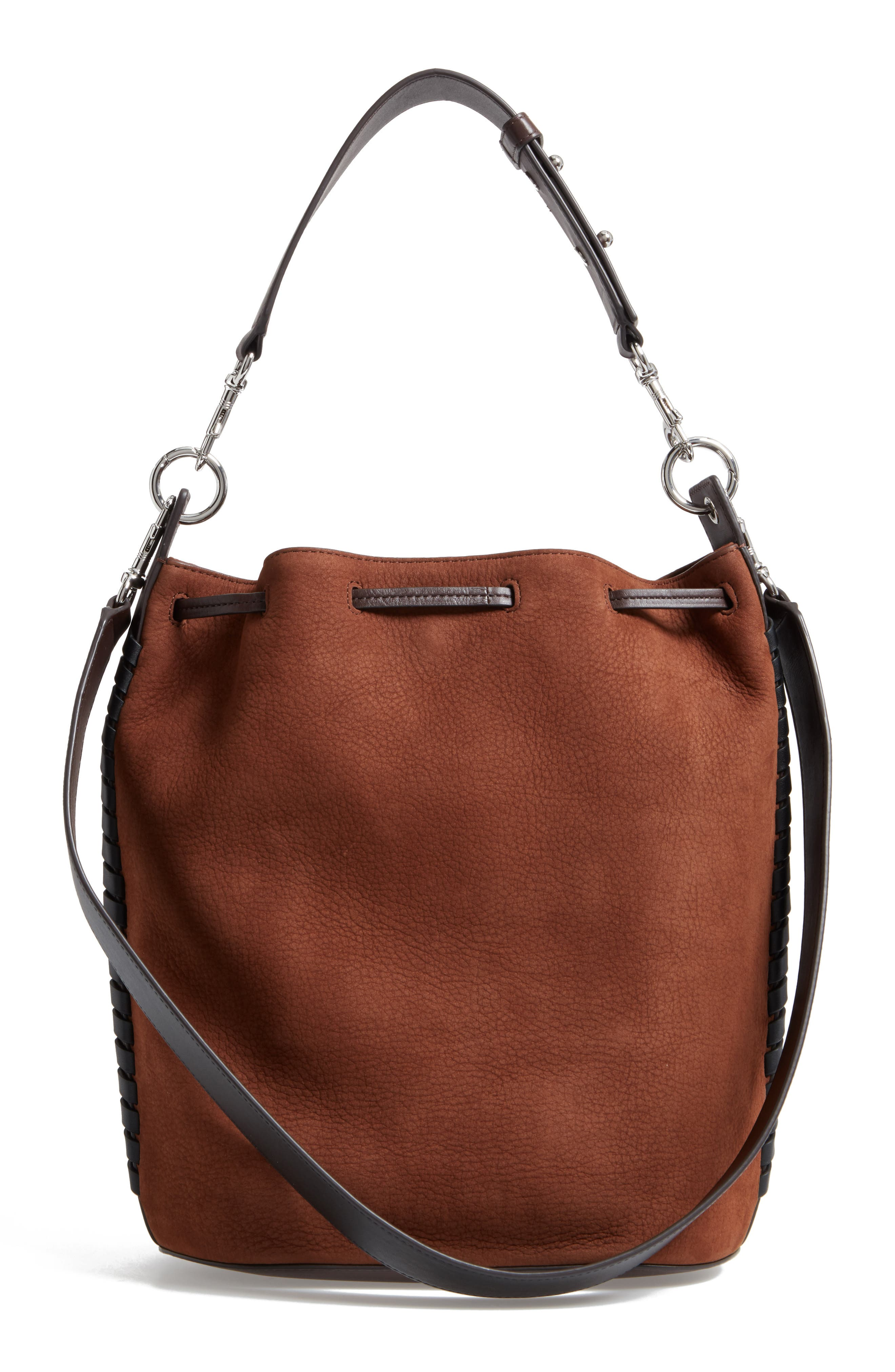 Ray Nubuck Leather Bucket Bag,                             Alternate thumbnail 3, color,                             200