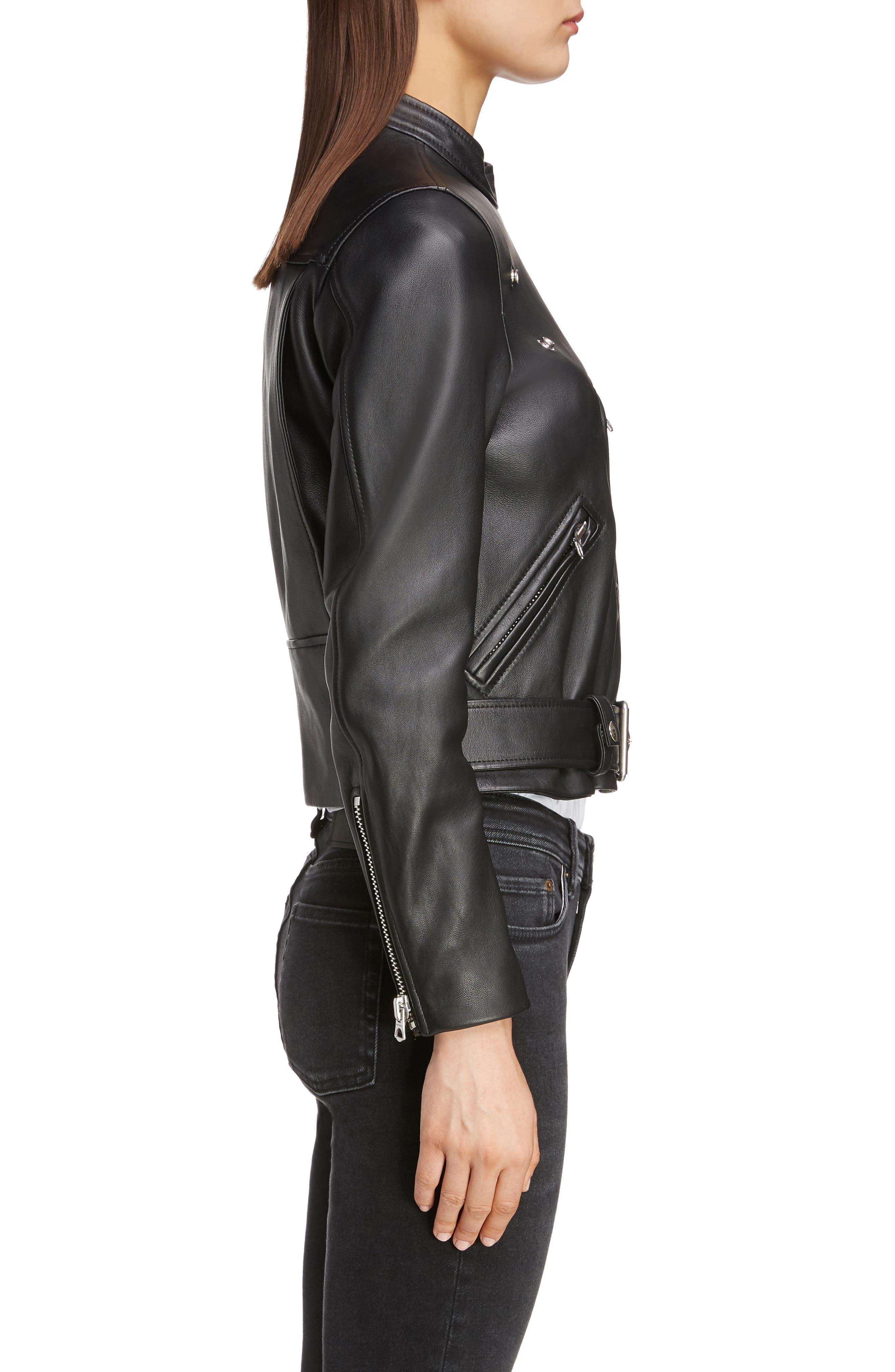 ACNE STUDIOS,                             Lewis Leather Moto Jacket,                             Alternate thumbnail 3, color,                             BLACK