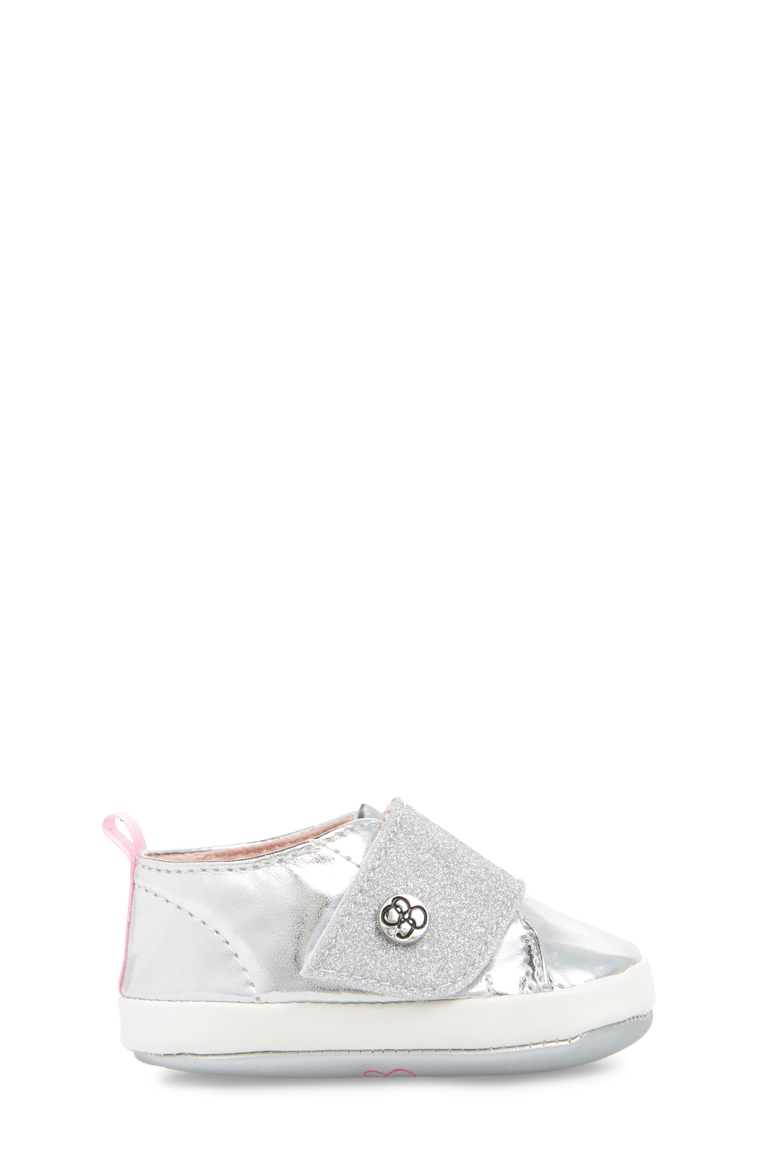 Glitter Crib Sneaker,                             Alternate thumbnail 3, color,                             SILVER MIRROR METALLIC