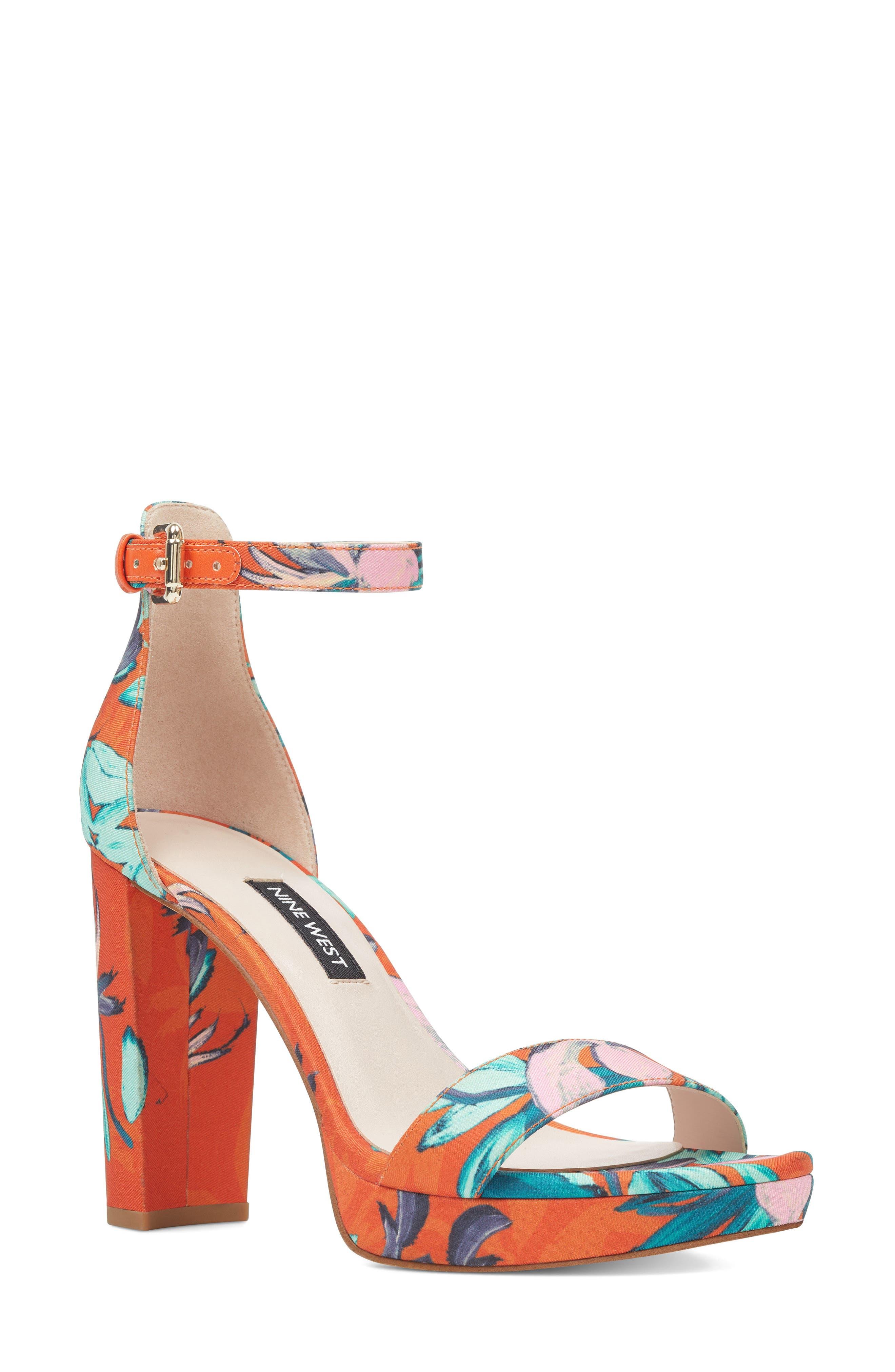Dempsey Platform Sandal,                         Main,                         color, ORANGE MULTI FABRIC