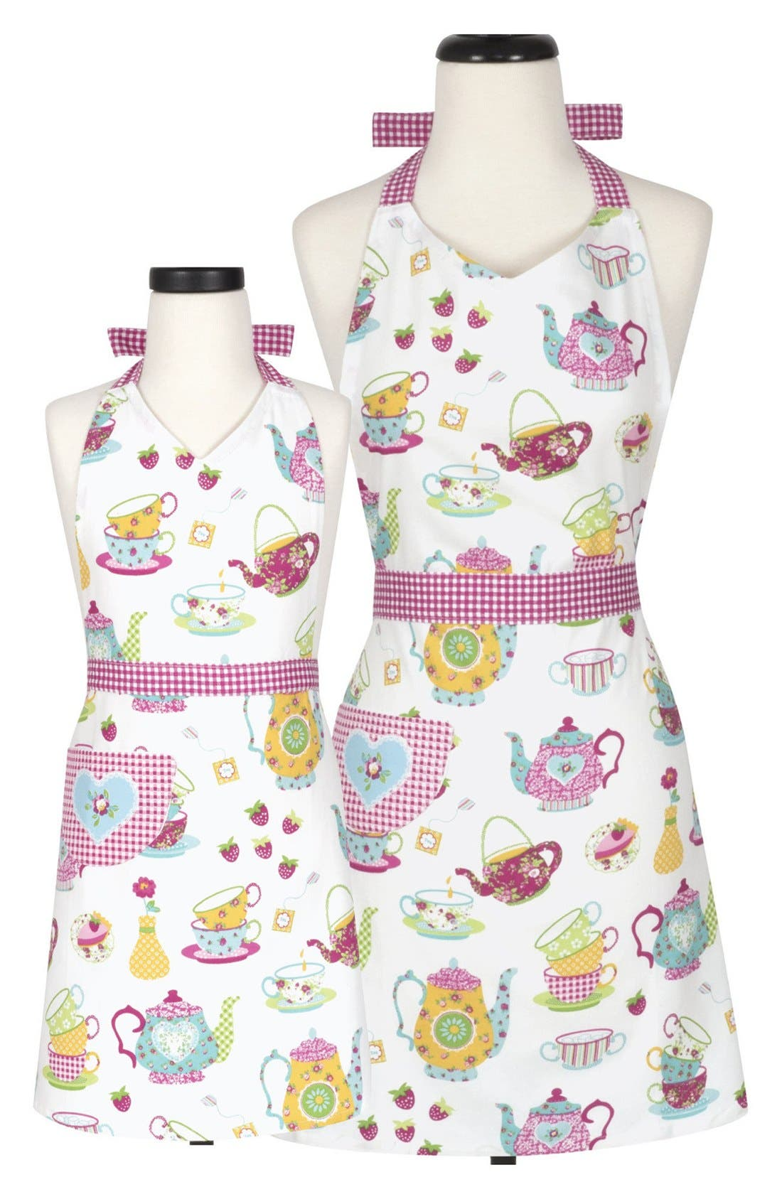 Vintage Aprons, Retro Aprons, Old Fashioned Aprons & Patterns Handstand Kitchen Tea Party Adult  Kid Apron Set Size One Size - Pink $45.00 AT vintagedancer.com