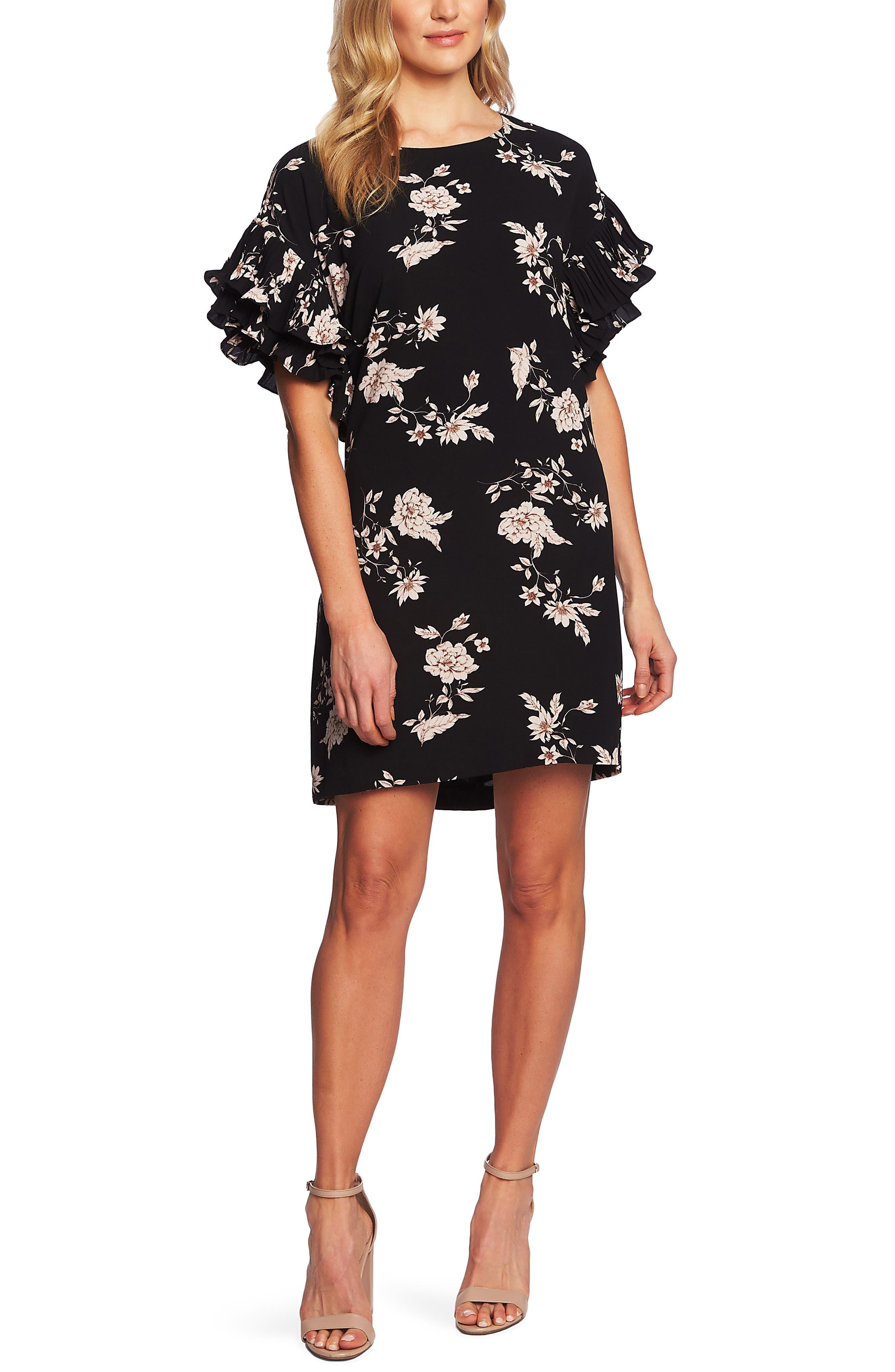 CECE Etched Floral Shift Dress, Main, color, RICH BLACK