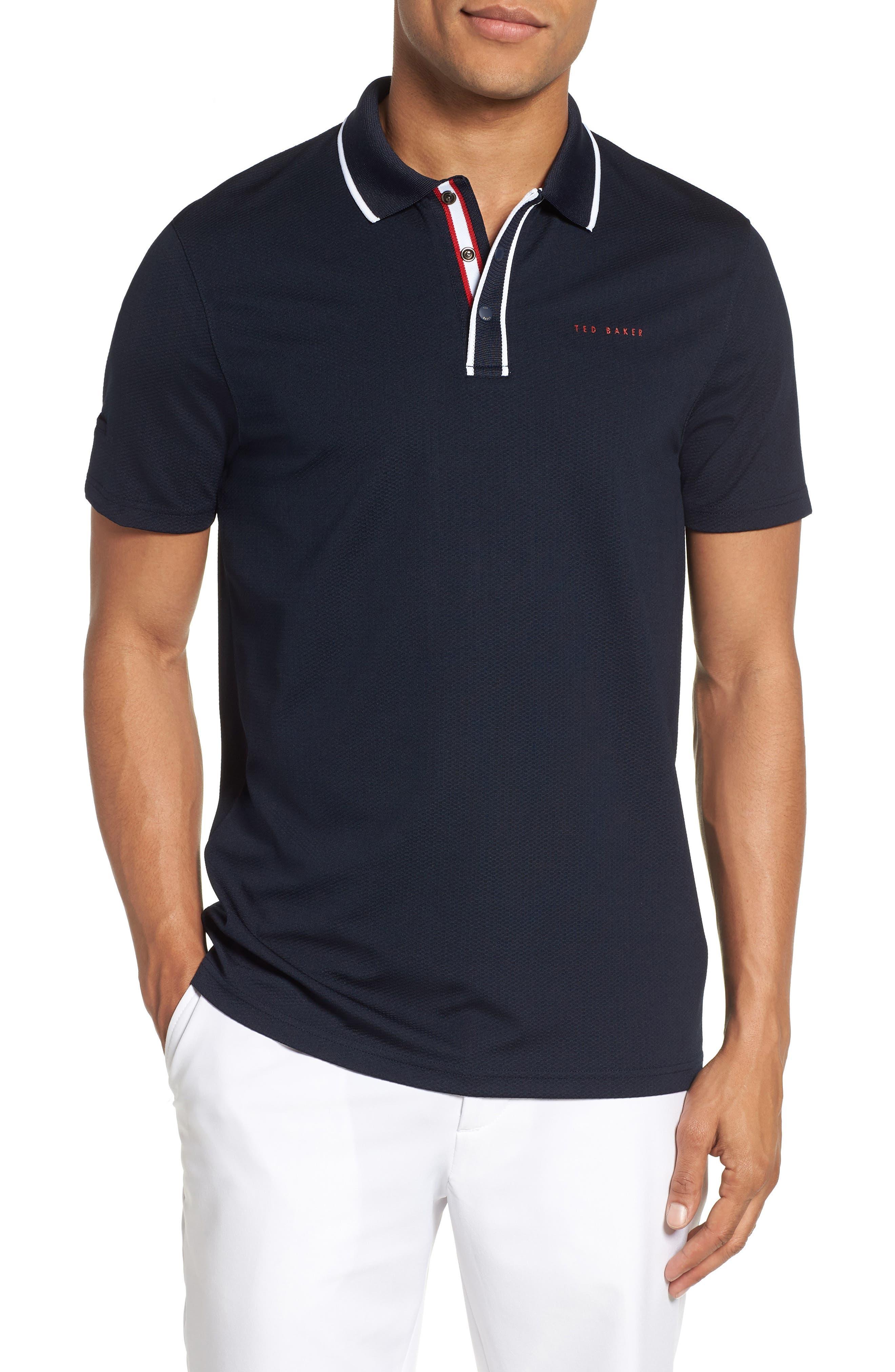 Bunka Trim Fit Golf Polo,                         Main,                         color, NAVY