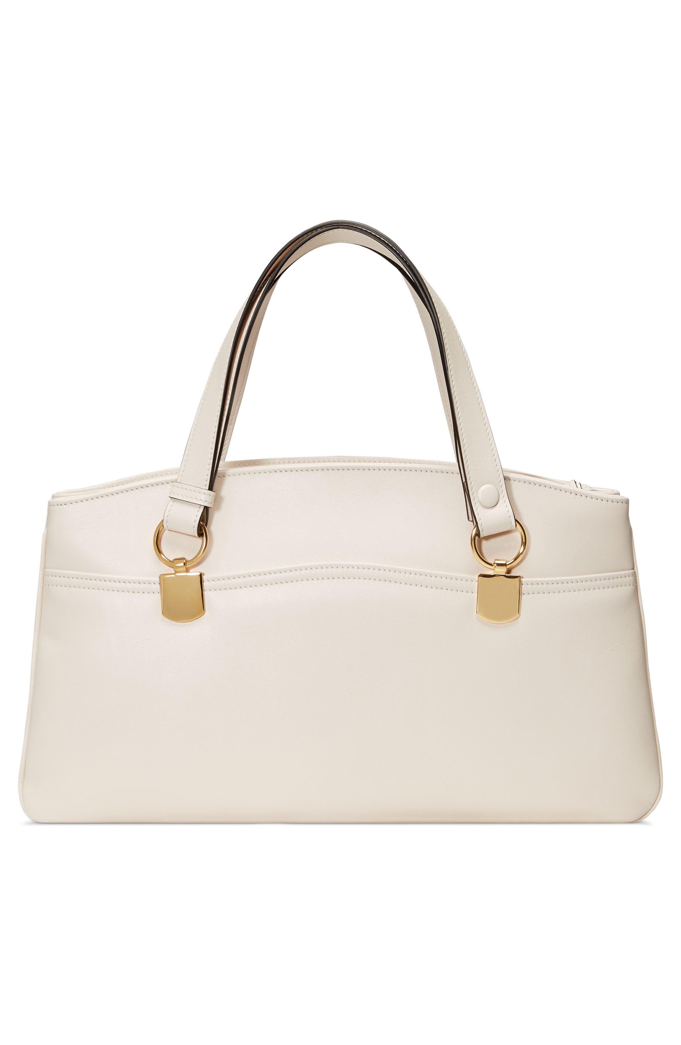 Large Arli Leather Top Handle Bag,                             Alternate thumbnail 2, color,                             MYSTIC WHITE