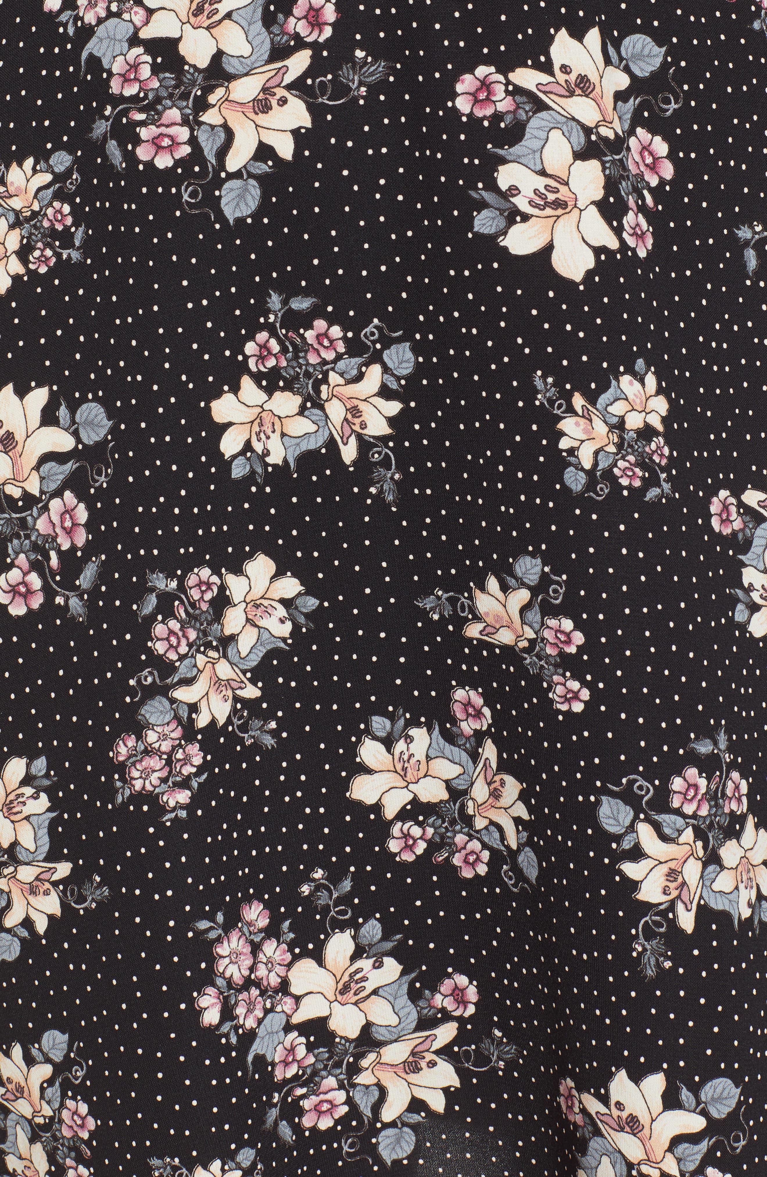 Printed Ruffle Sleeve Minidress,                             Alternate thumbnail 6, color,                             001