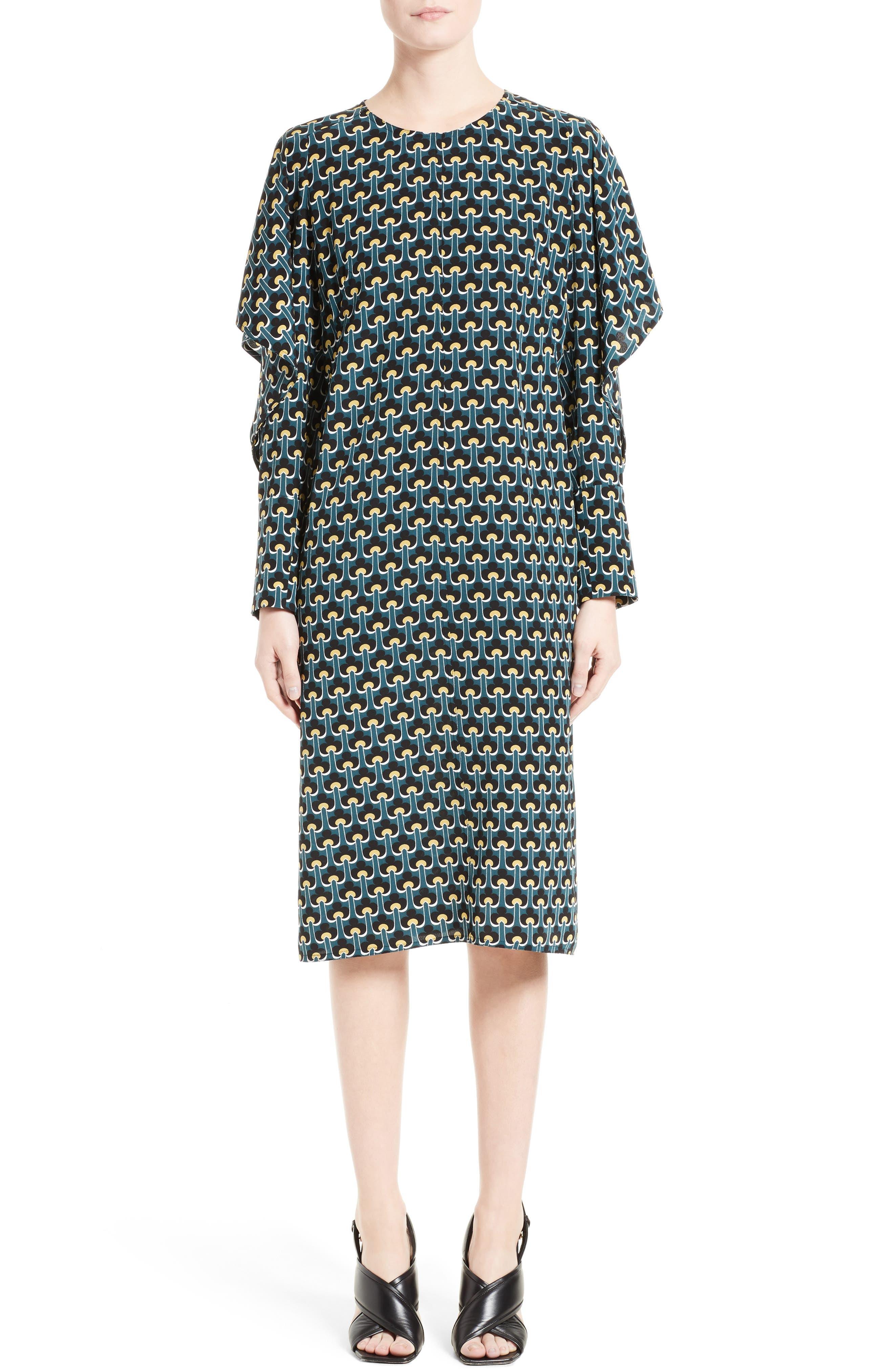 Print Silk Cold Shoulder Dress,                         Main,                         color, 400