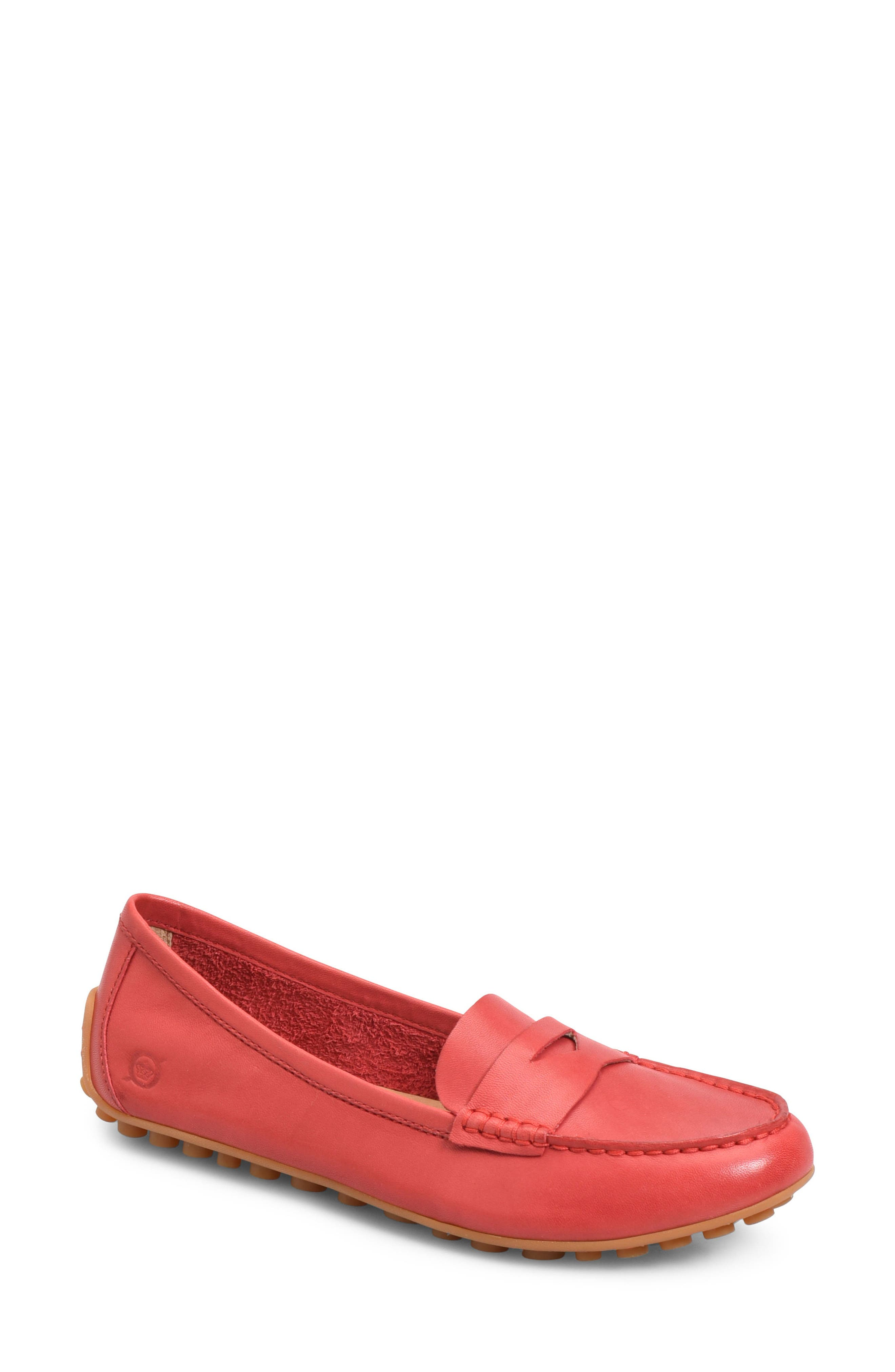Malena Driving Loafer,                         Main,                         color, RED LEATHER