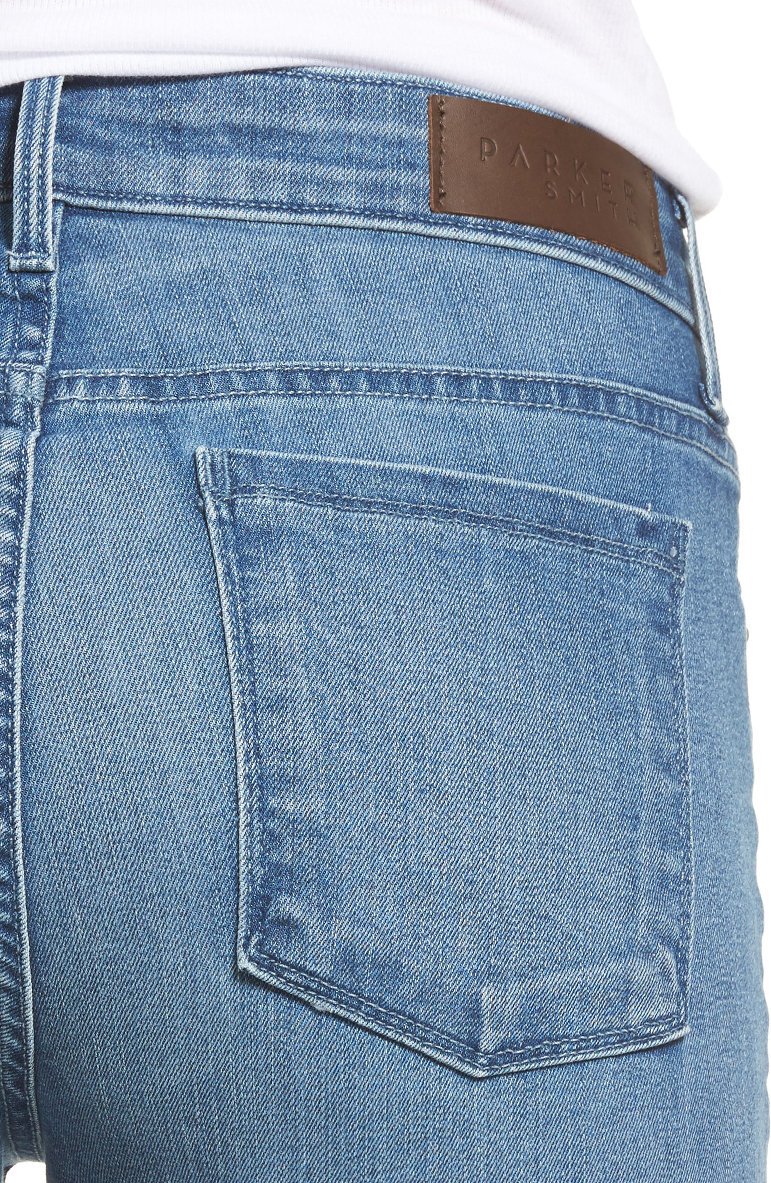 Raw Edge Ankle Straight Jeans,                             Alternate thumbnail 4, color,                             402