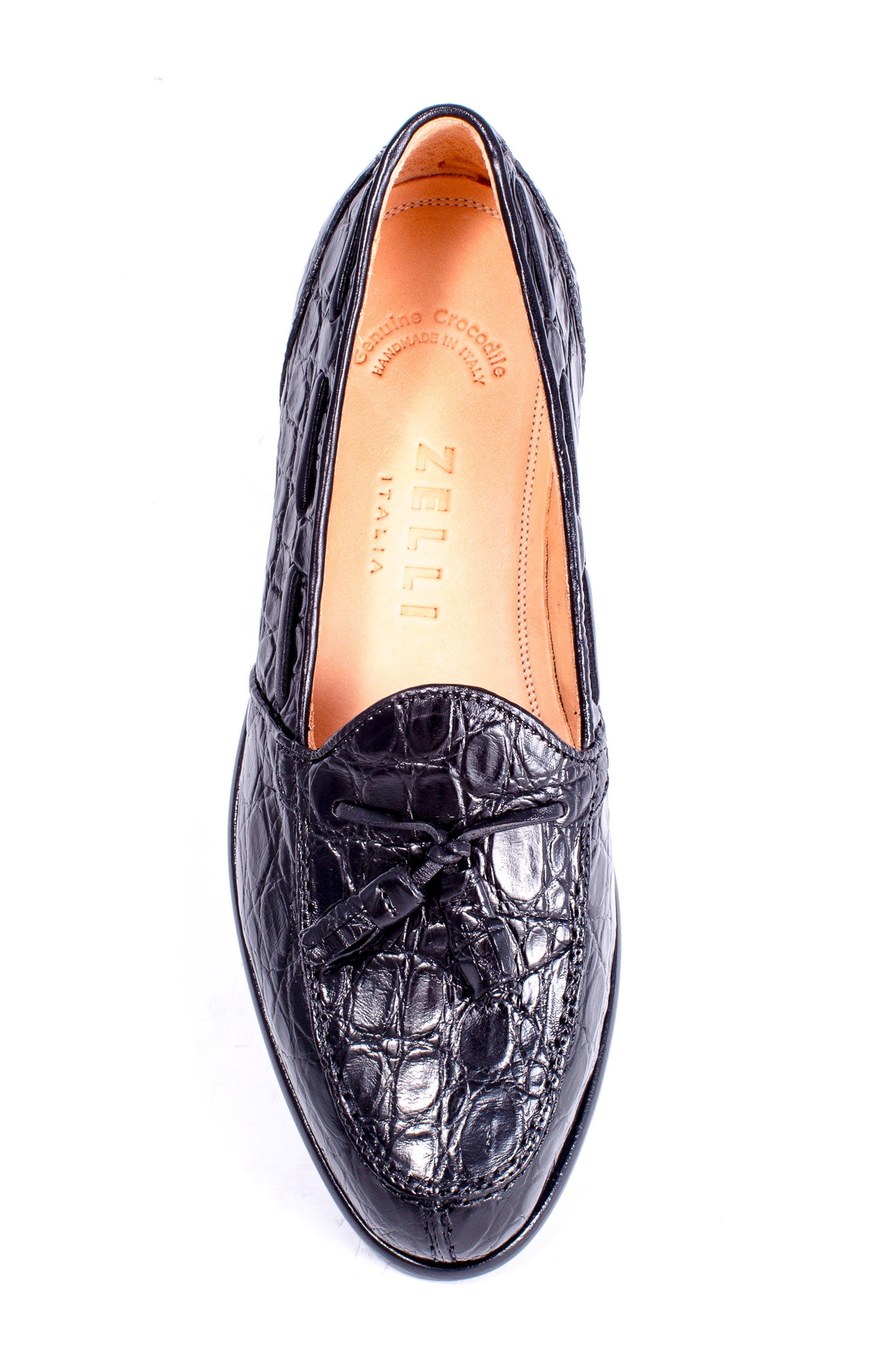 Franco Tassel Exotic Leather Loafer,                             Alternate thumbnail 5, color,                             001