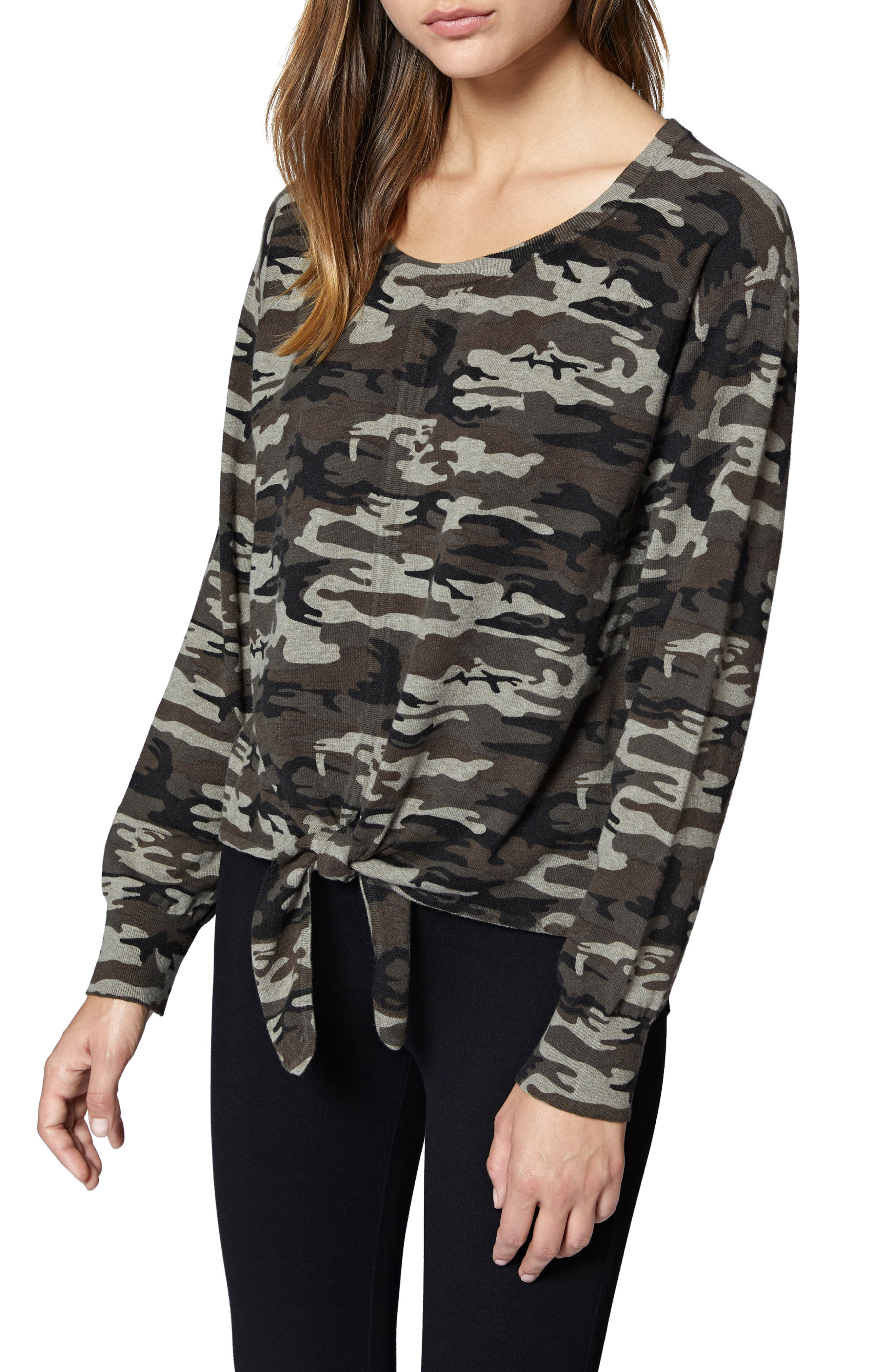 Laguna Camouflage Tie Front Top,                             Main thumbnail 1, color,                             HUMAN NATURE CAMO