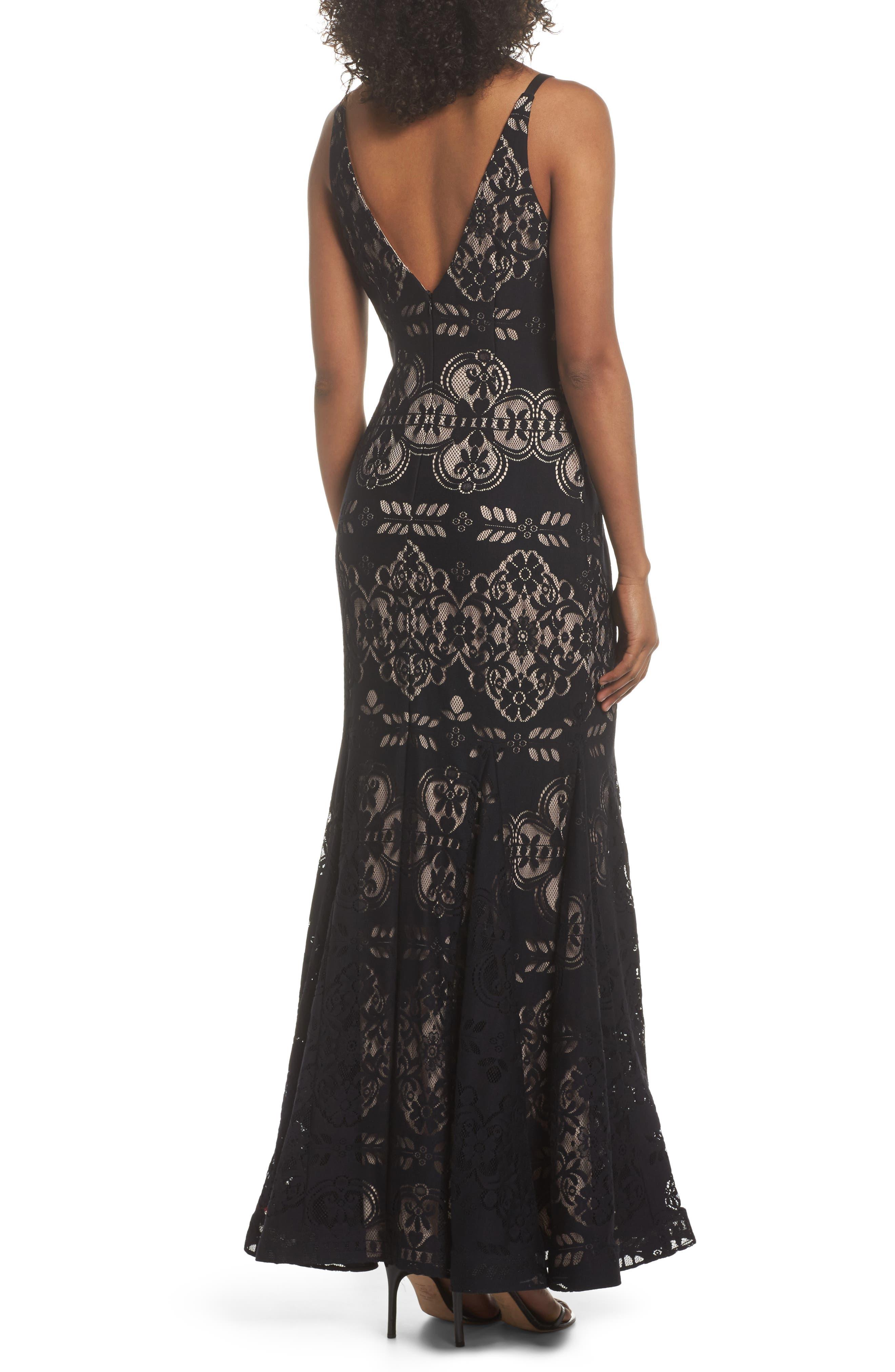 Lace V-Neck Gown,                             Alternate thumbnail 2, color,                             001