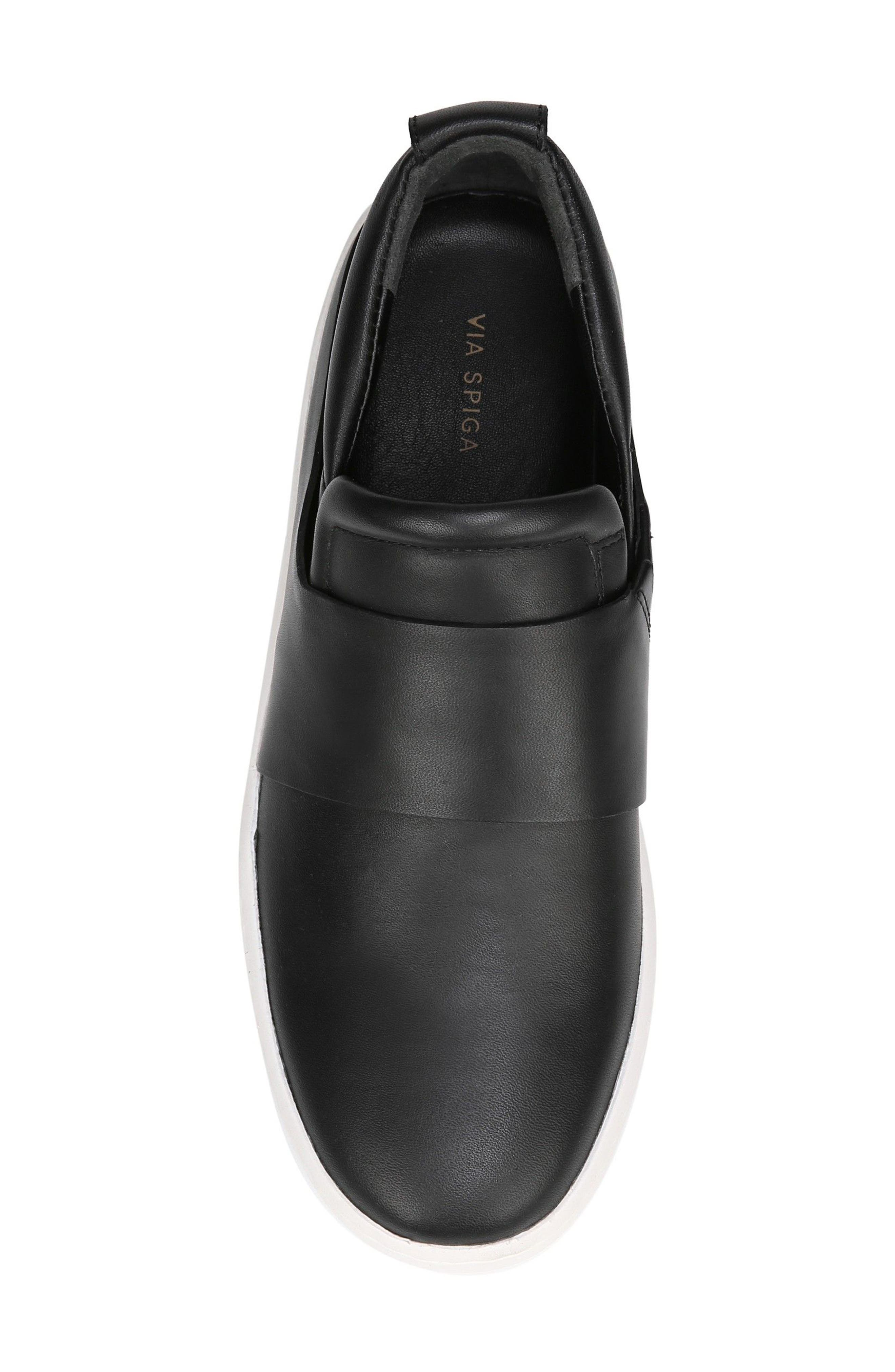 Ryder Slip-On Sneaker,                             Alternate thumbnail 5, color,                             BLACK LEATHER