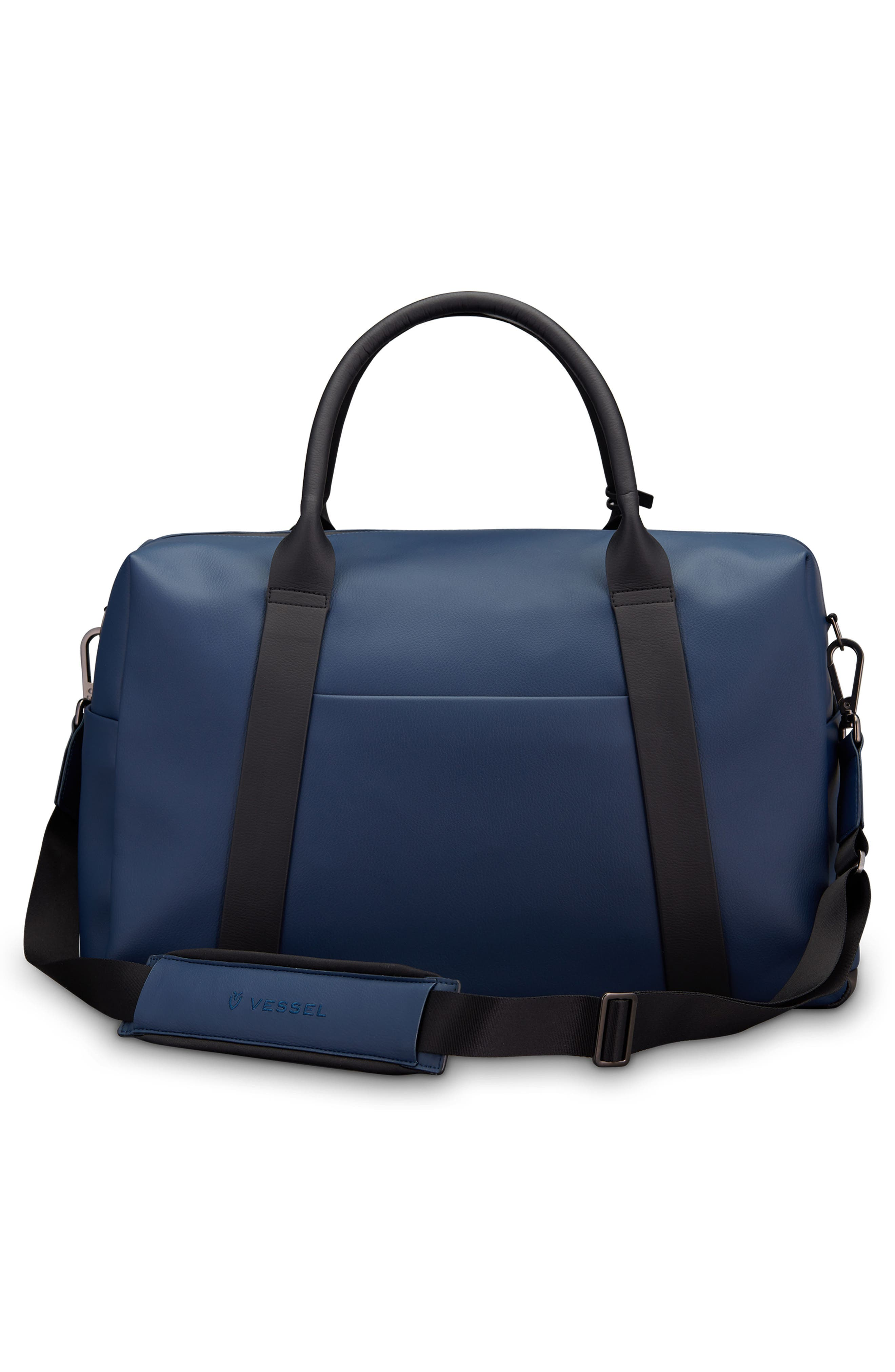 Signature 2.0 Faux Leather Duffel Bag,                             Alternate thumbnail 2, color,                             PEBBLED NAVY/ BLACK