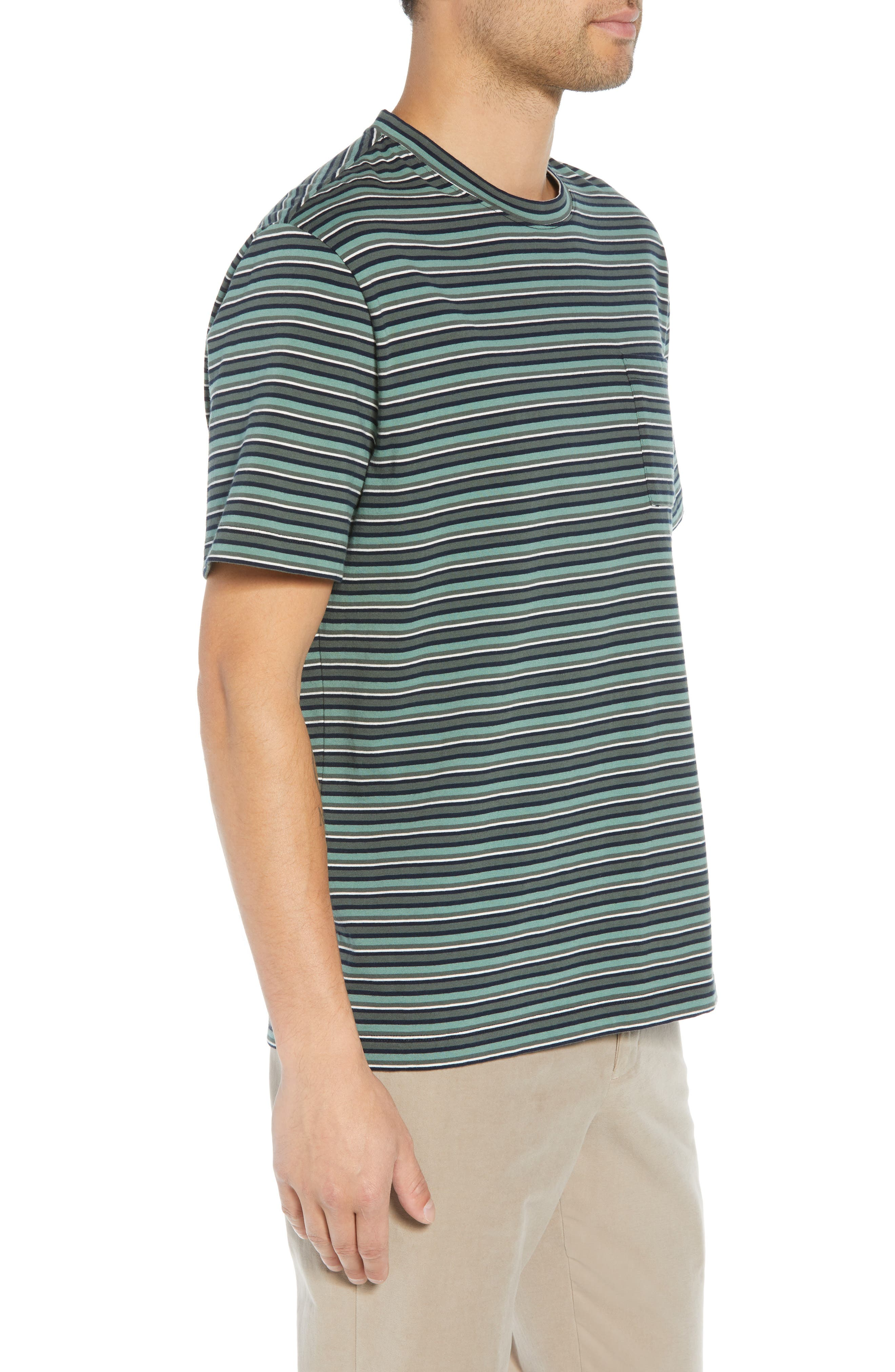 Regular Fit Multistripe Pocket T-Shirt,                             Alternate thumbnail 3, color,                             URBAN GREEN/ SPEARMINT